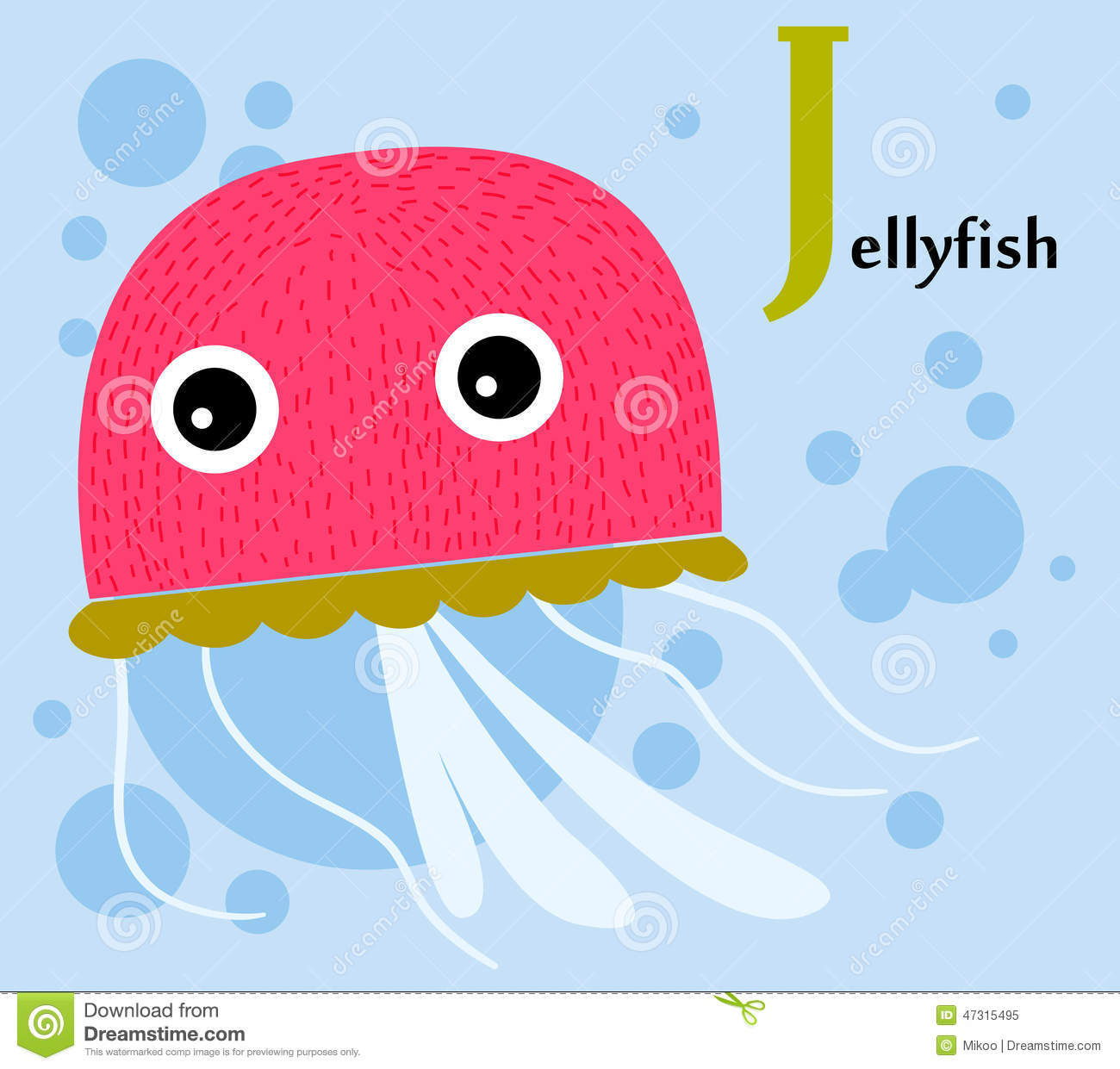 animal alphabet for the kids j for the jellyfish stock vector