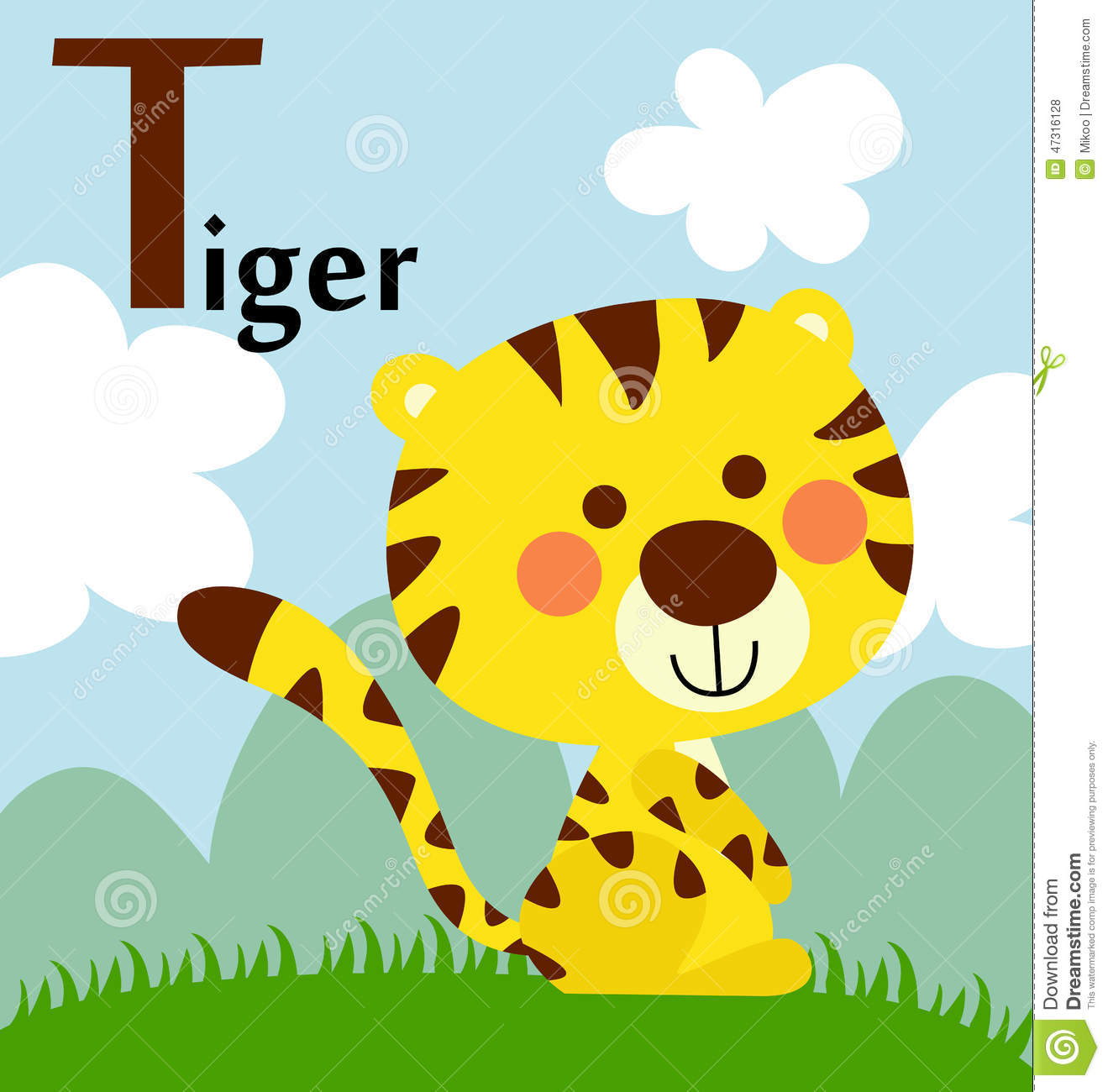 animal alphabet for the kids t for the tiger stock vector image