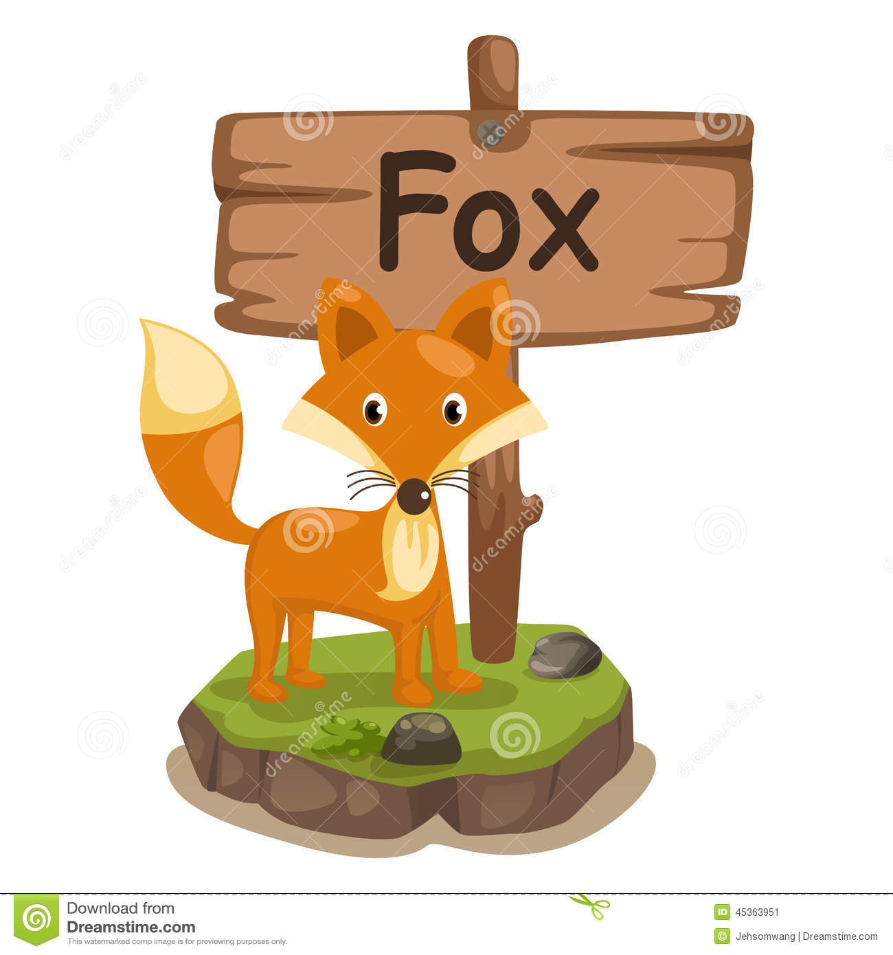 Fabuleux Animal Alphabet Letter F For Fox Stock Vector - Image: 45363951 SL99