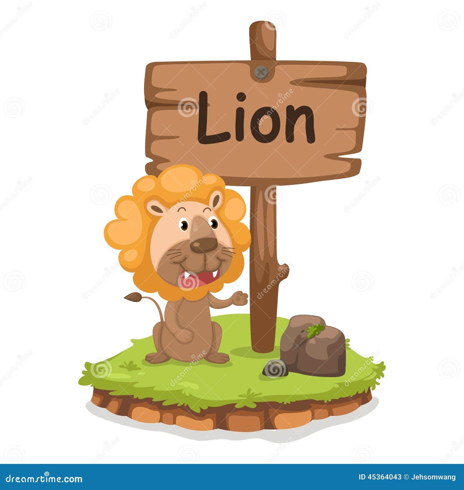 Animal Alphabet Letter L For Lion Illustration Vector