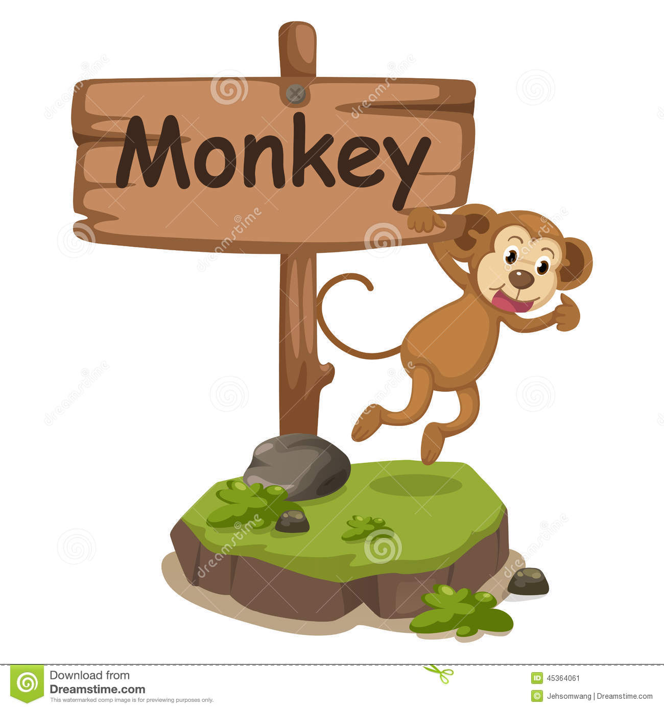Animal Alphabet Letter M For Monkey Stock Vector Image