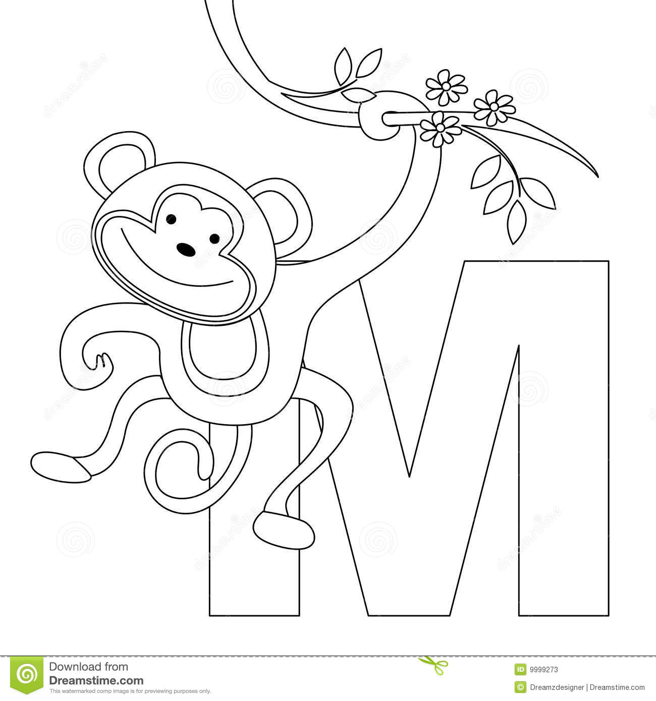 Animal Alphabet M Coloring Page Stock Vector Illustration Of