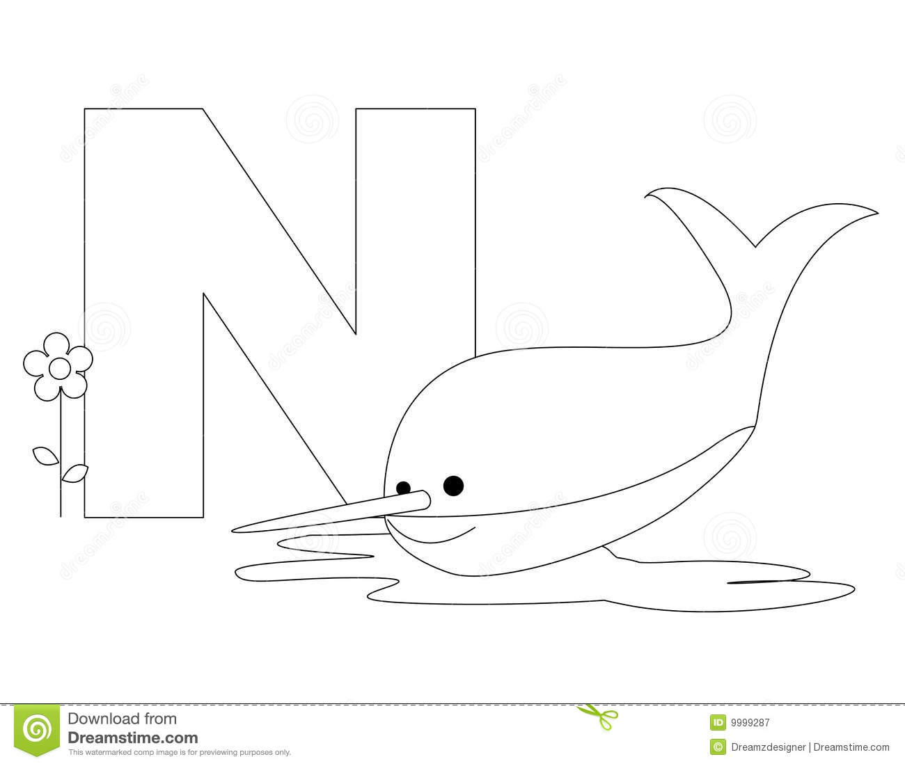 on white background coloring book page graphic n is for narwhal