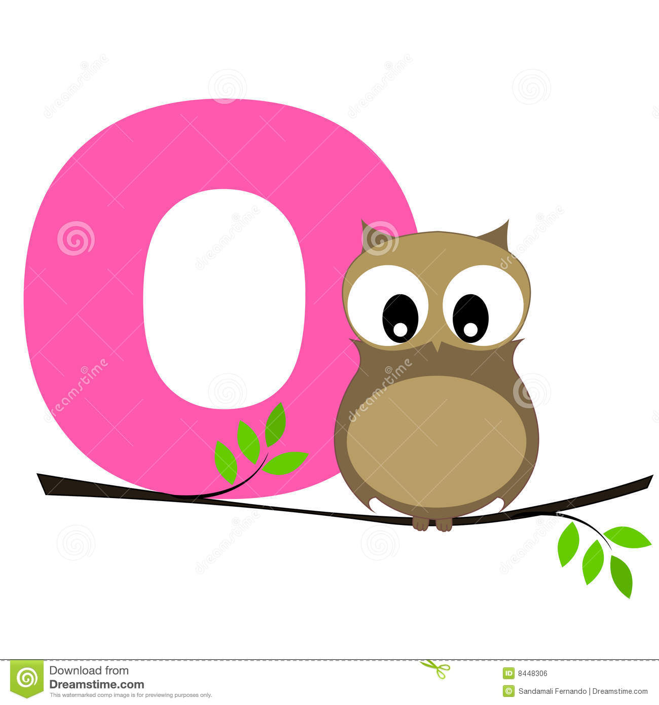 Illustration of alphabet letter O with a cute little Owl sitting on a ...