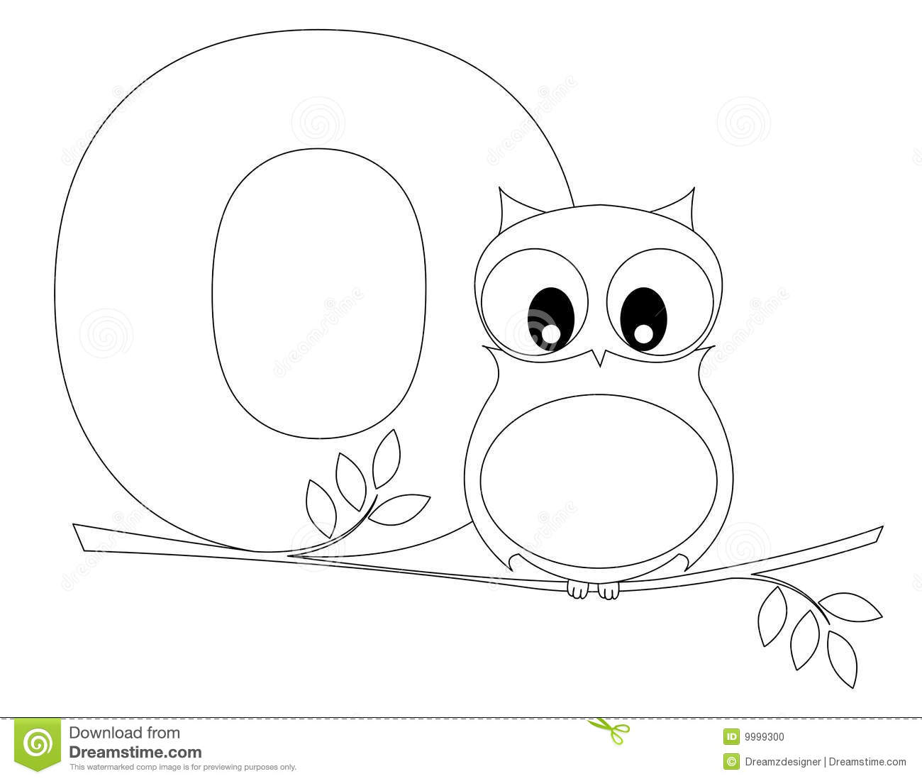 Animal Alphabet O Coloring Page Stock Vector Illustration of