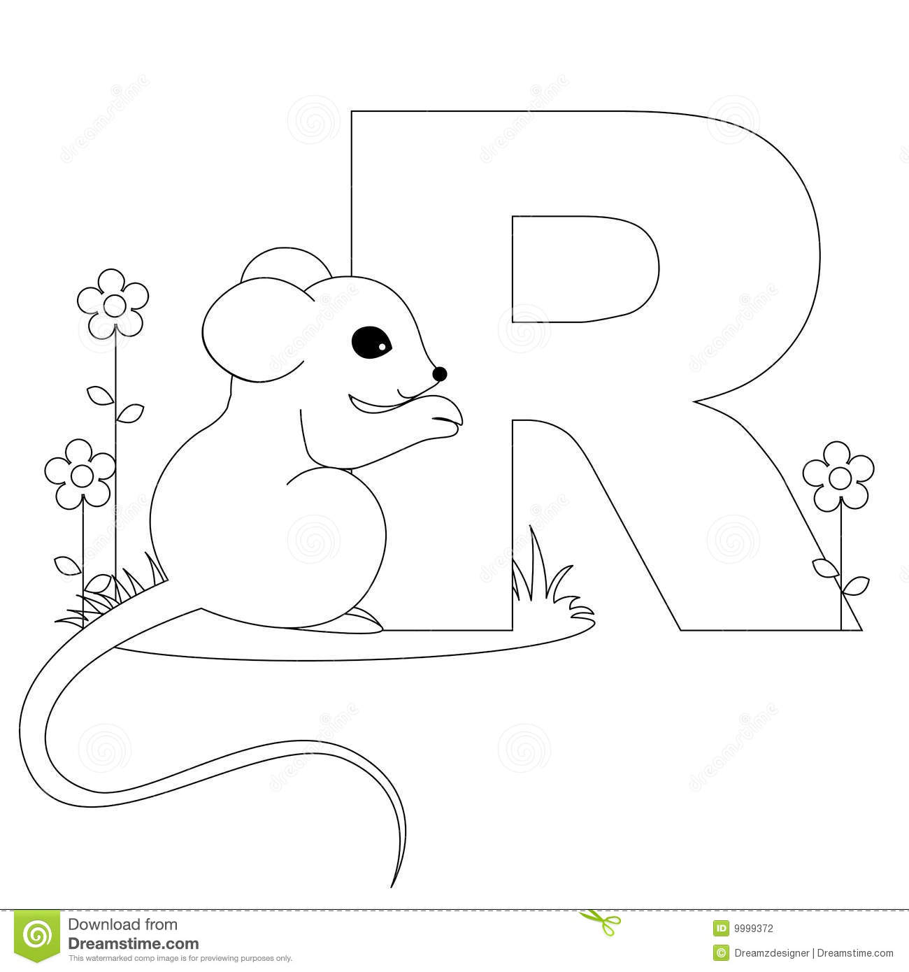 Animal Alphabet R Coloring Page Stock Vector Illustration Of Font