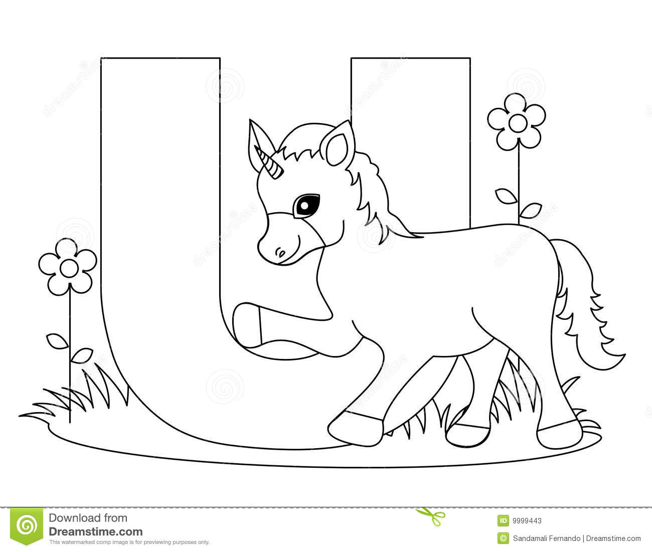 Animal Alphabet U Coloring Page Stock Vector - Illustration of ...