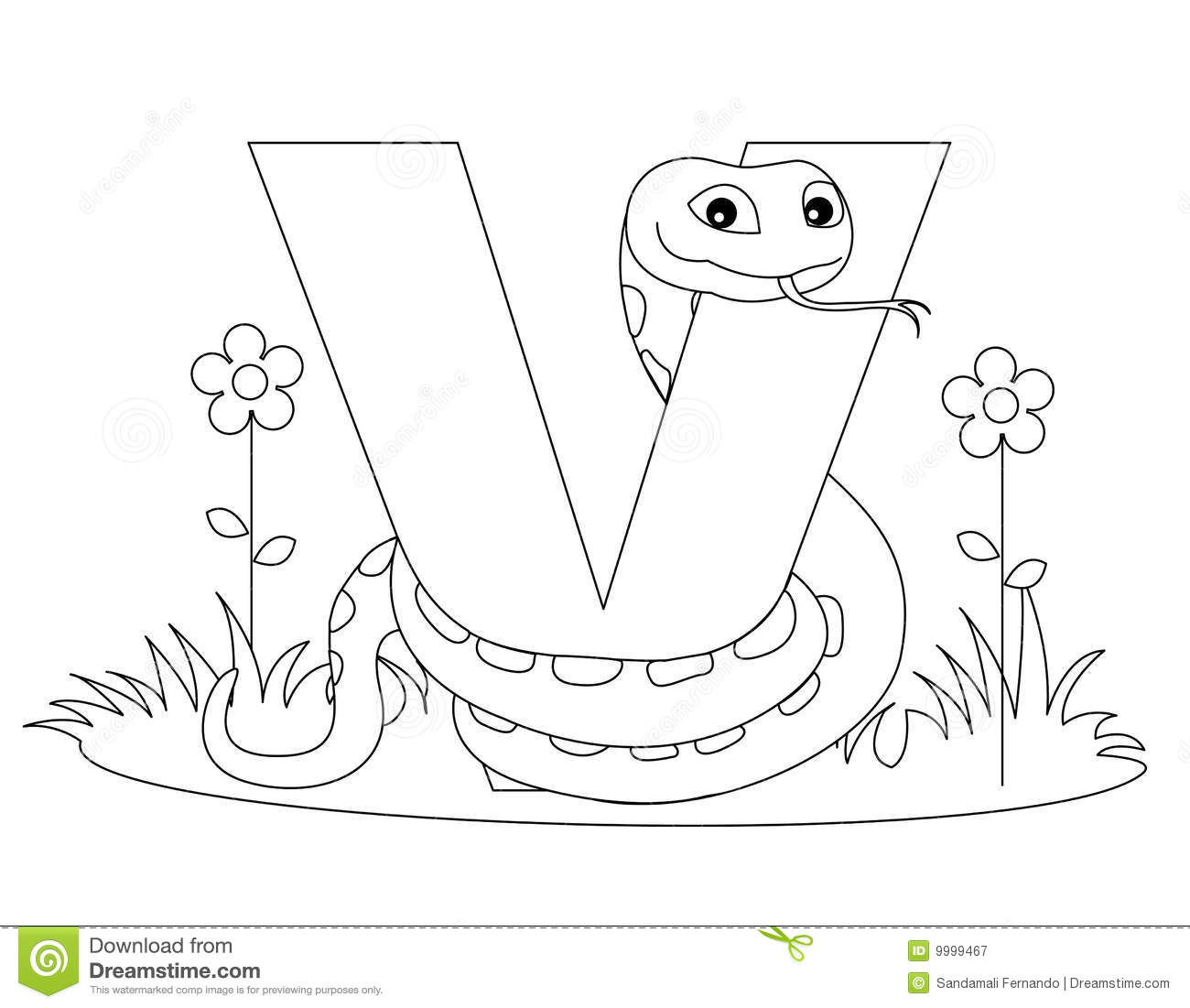 Free animal alphabet coloring pages - Animal Alphabet V Coloring Page Royalty Free Stock Photography