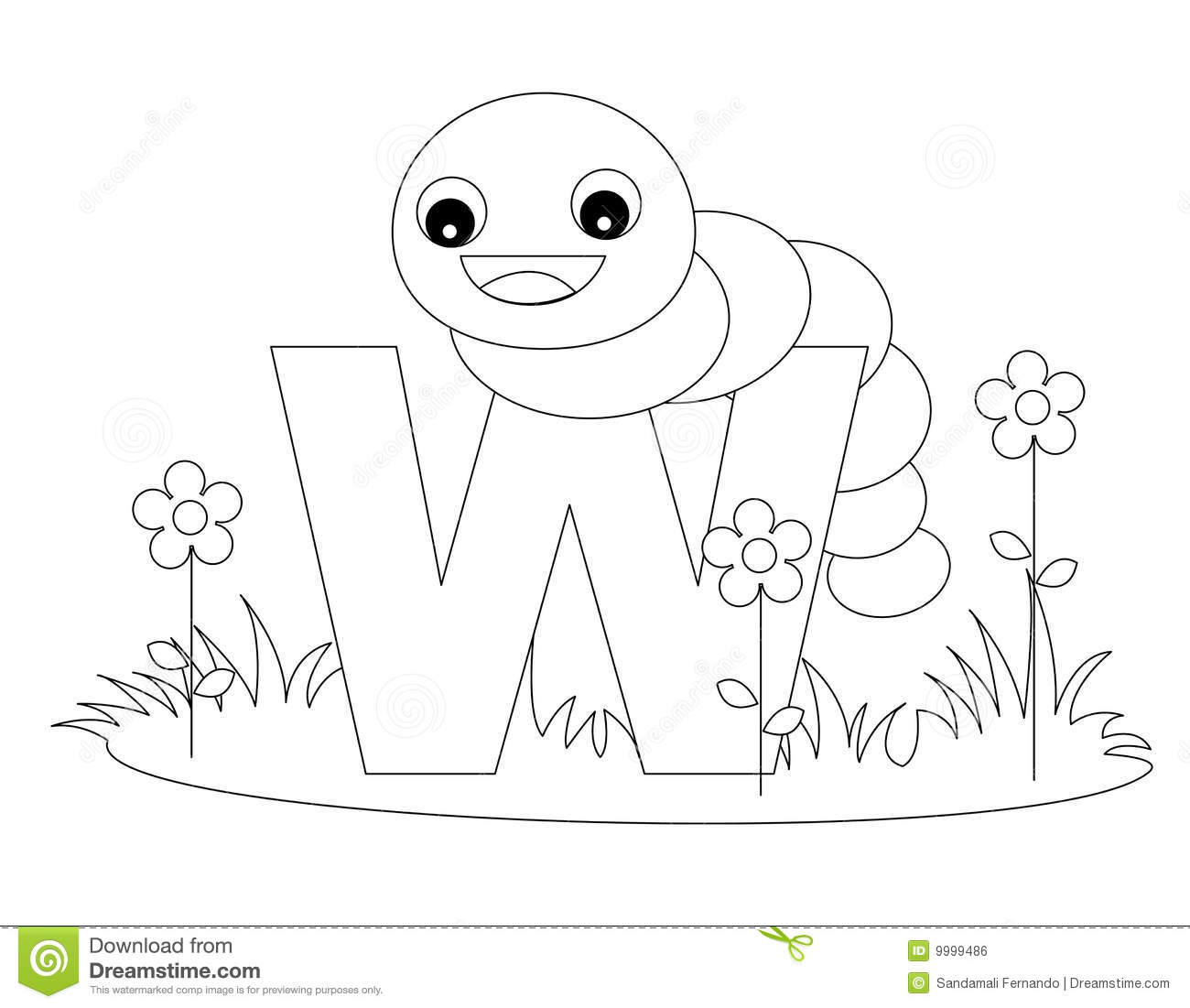 Animal Alphabet W Coloring Page Stock Vector Illustration Of Baby