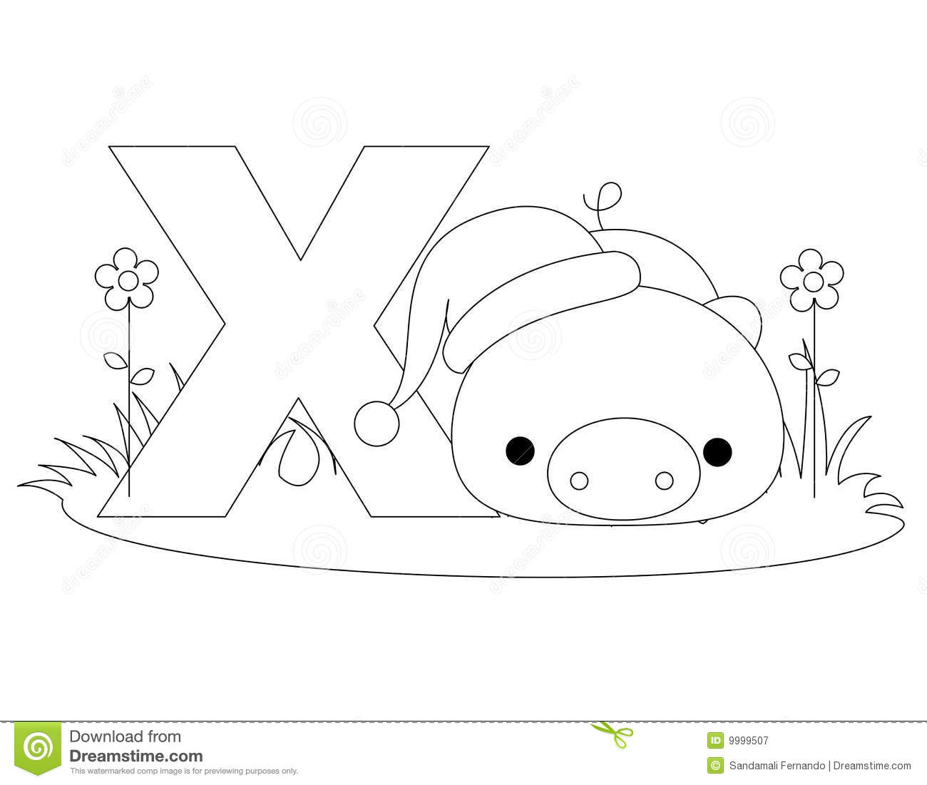 Animal Alphabet X Coloring Page Royalty Free Stock ...