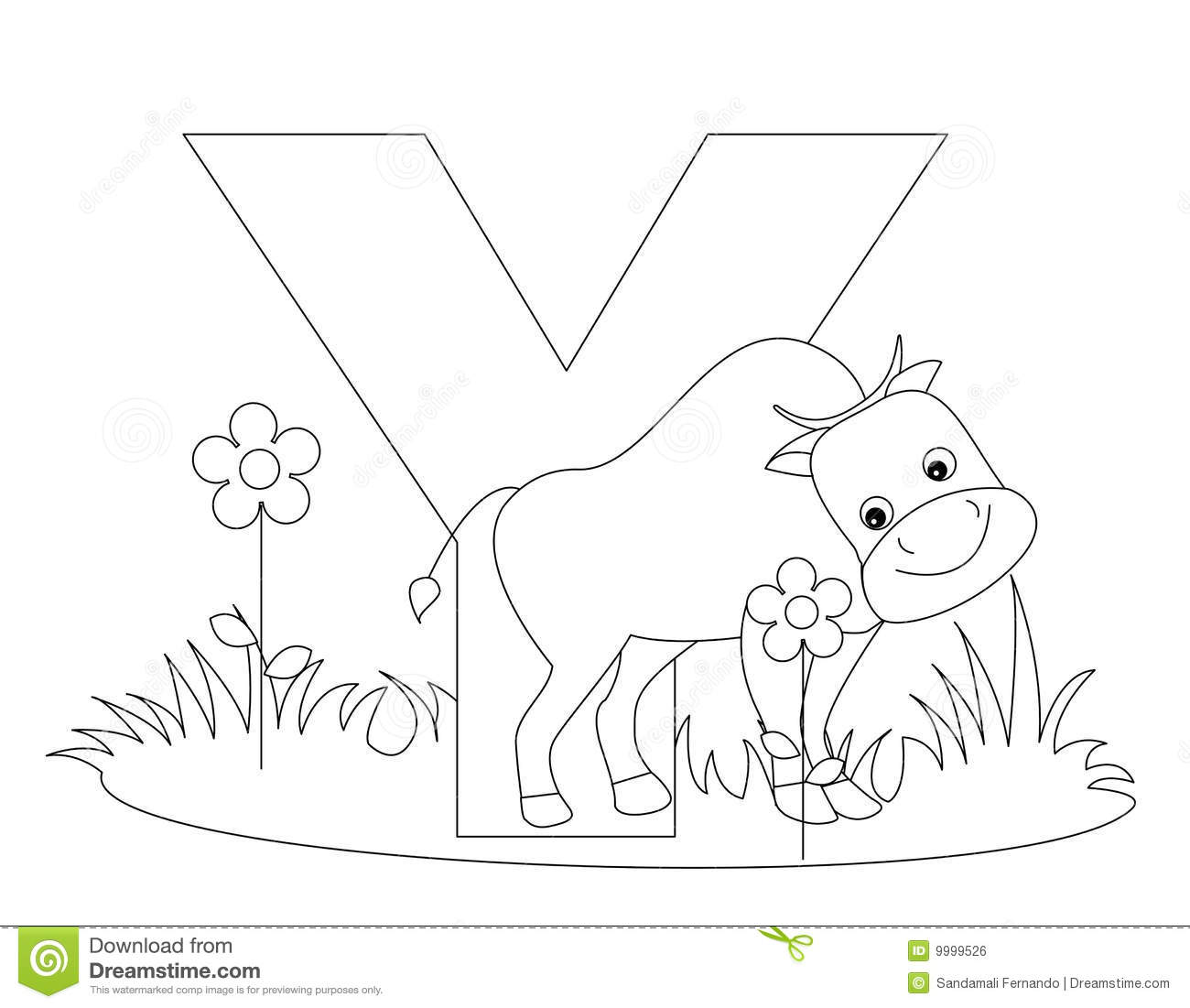 Letter Y Coloring Pages: Animal Alphabet Y Coloring Page Royalty Free Stock Image