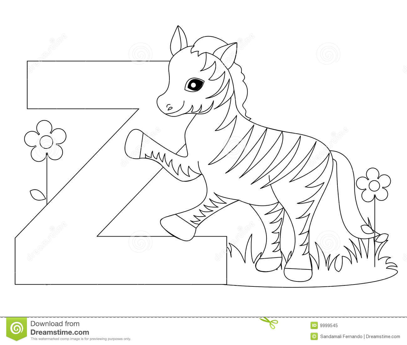 Animal alphabet z coloring page stock vector for Animal alphabet coloring pages free