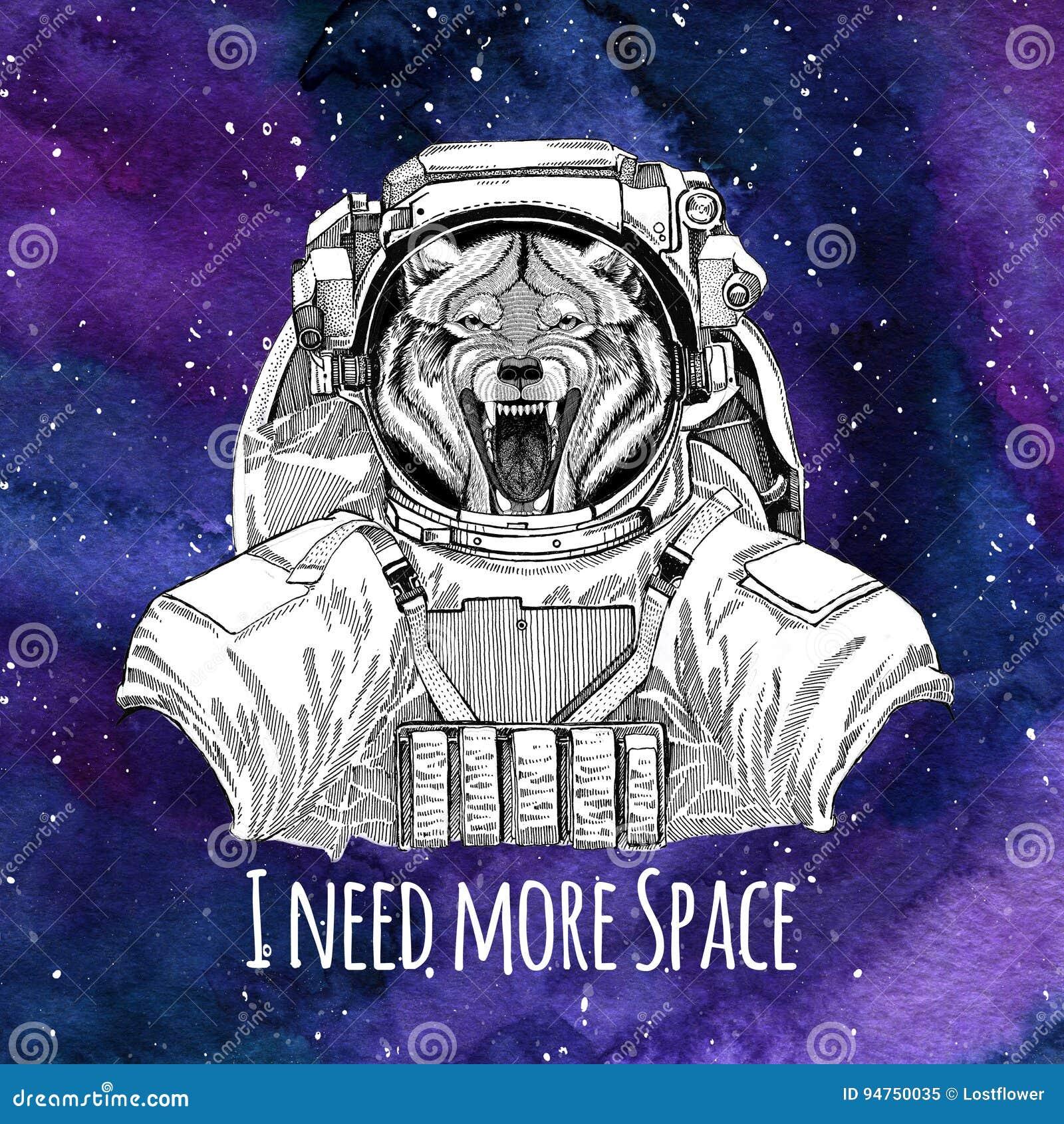 animal astronaut wolf dog wild animal wearing space suit galaxy space background stars nebula watercolor galaxy 94750035