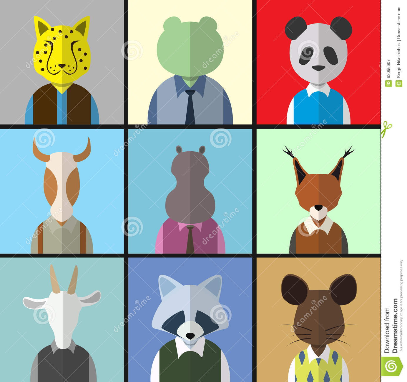Avatar 2 Animals: Animal Avatar Icon Set Stock Vector