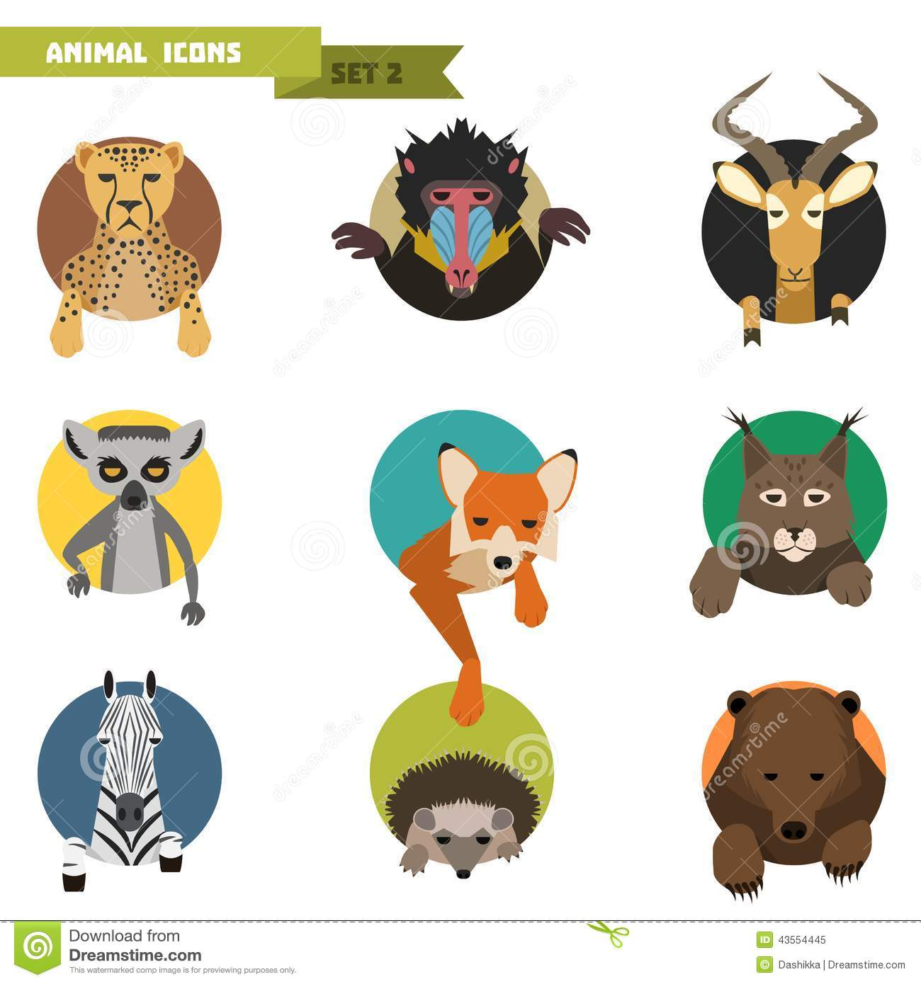 Avatar 2 Animals: Animal Avatars. Vector Illustration Stock Illustration