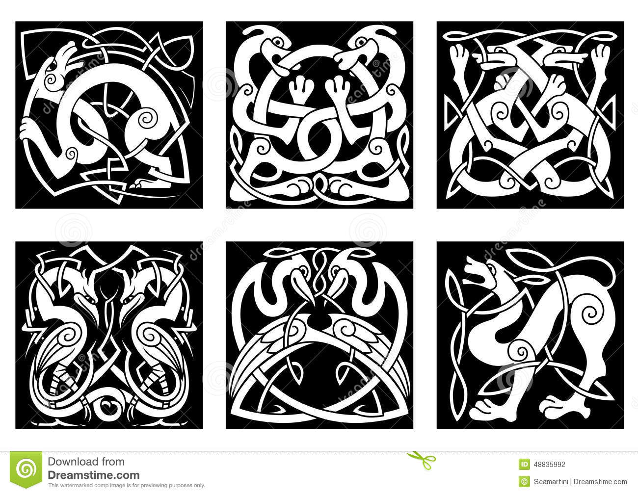 animal and birds in celtic style stock vector image 48835992. Black Bedroom Furniture Sets. Home Design Ideas
