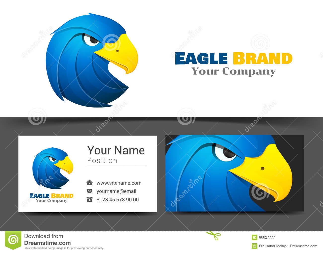 Animal Blue Eagle Corporate Logo And Business Card Sign Template ...