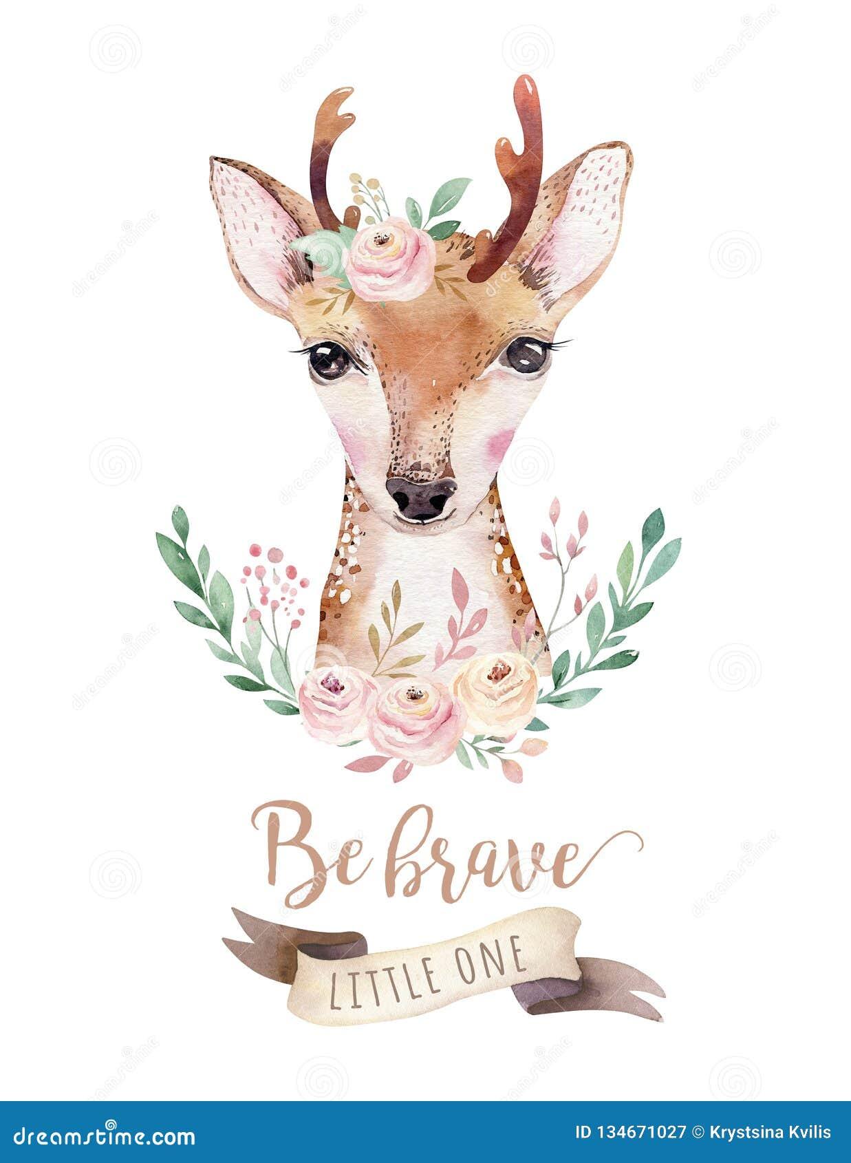 Animal bonito isolado desenhos animados dos cervos do bebê da aquarela com flores Ilustração da floresta do berçário da floresta