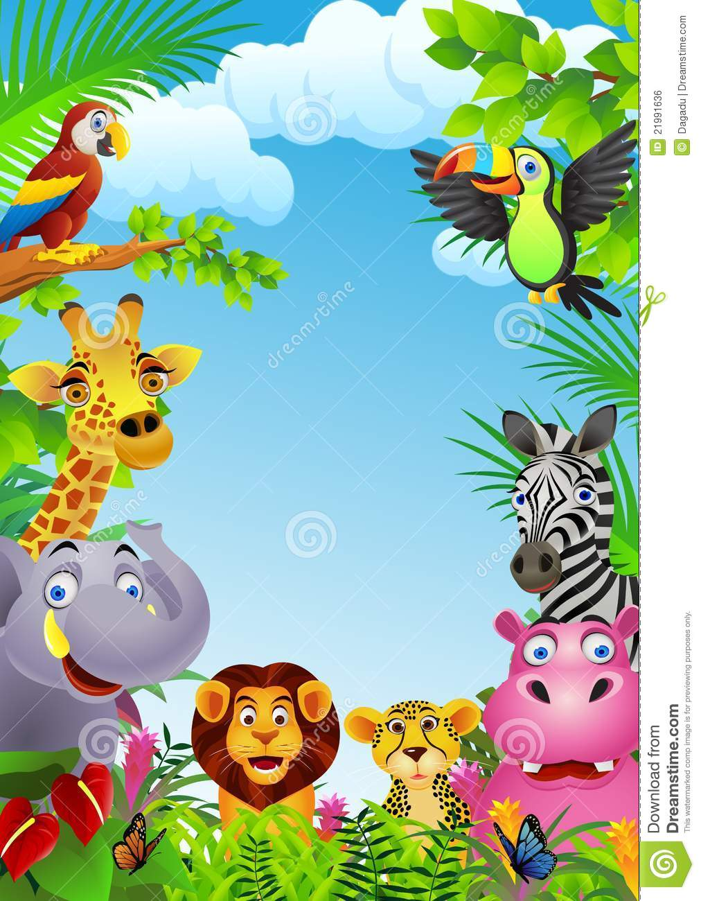 Animal cartoon Cartoon Jungle Animals Borders