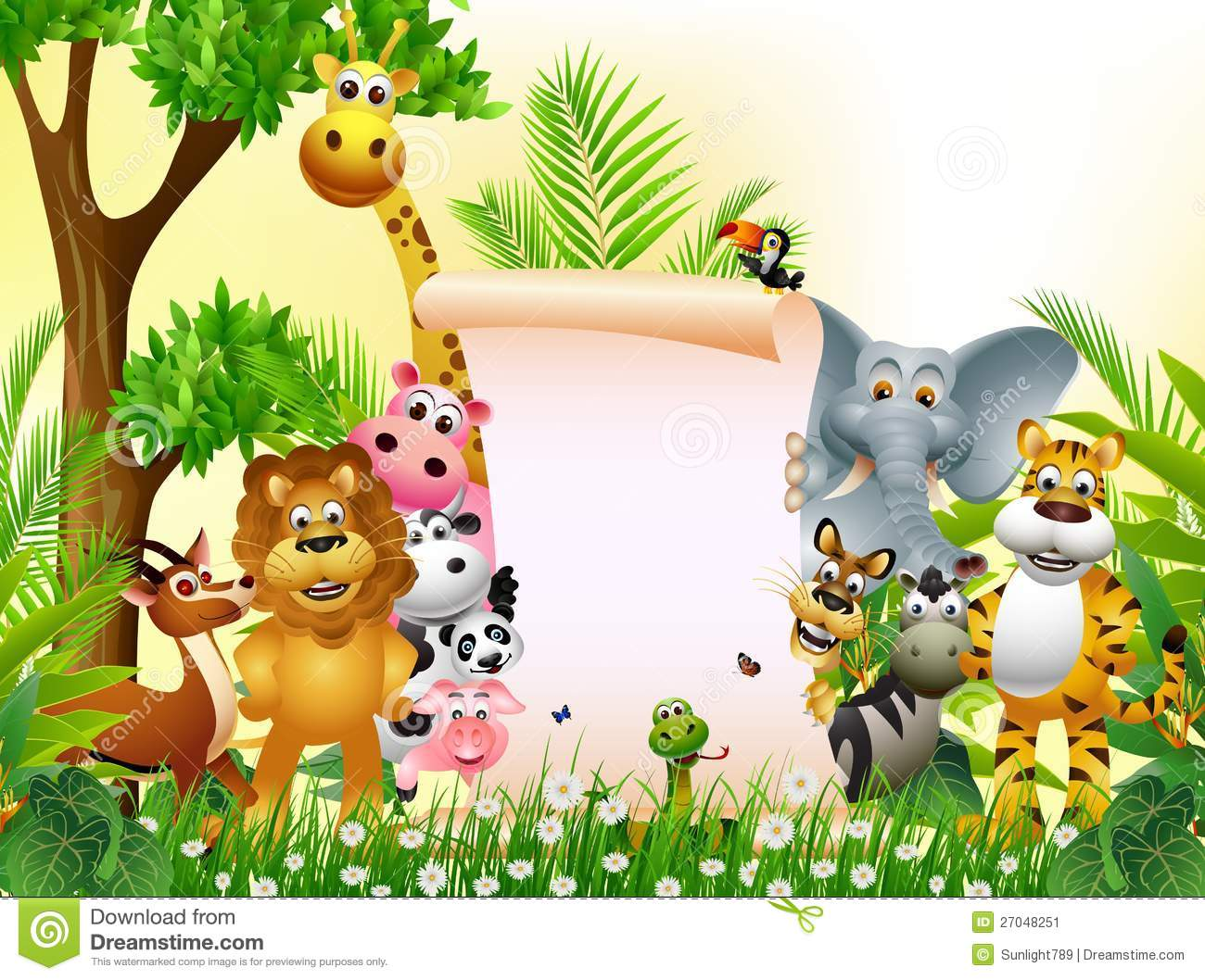cartoon animal blank sign illustration vector clipart animals wildlife funny background mammal illustrations safari preview mascot