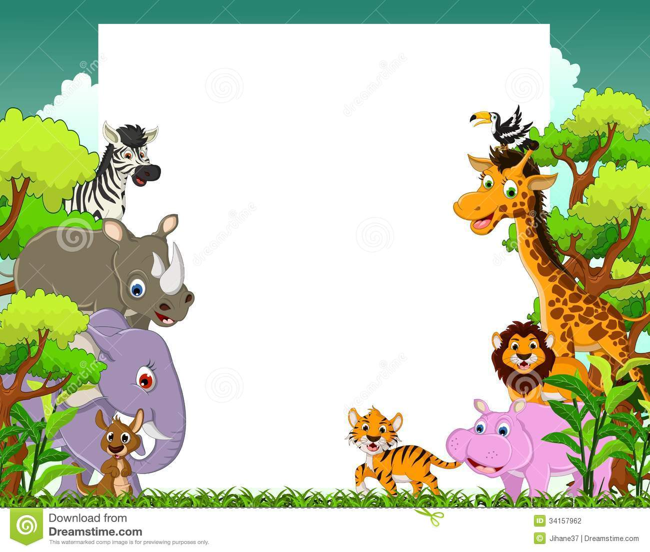 Animal Cartoon With Blank Sign And Tropical Forest ...