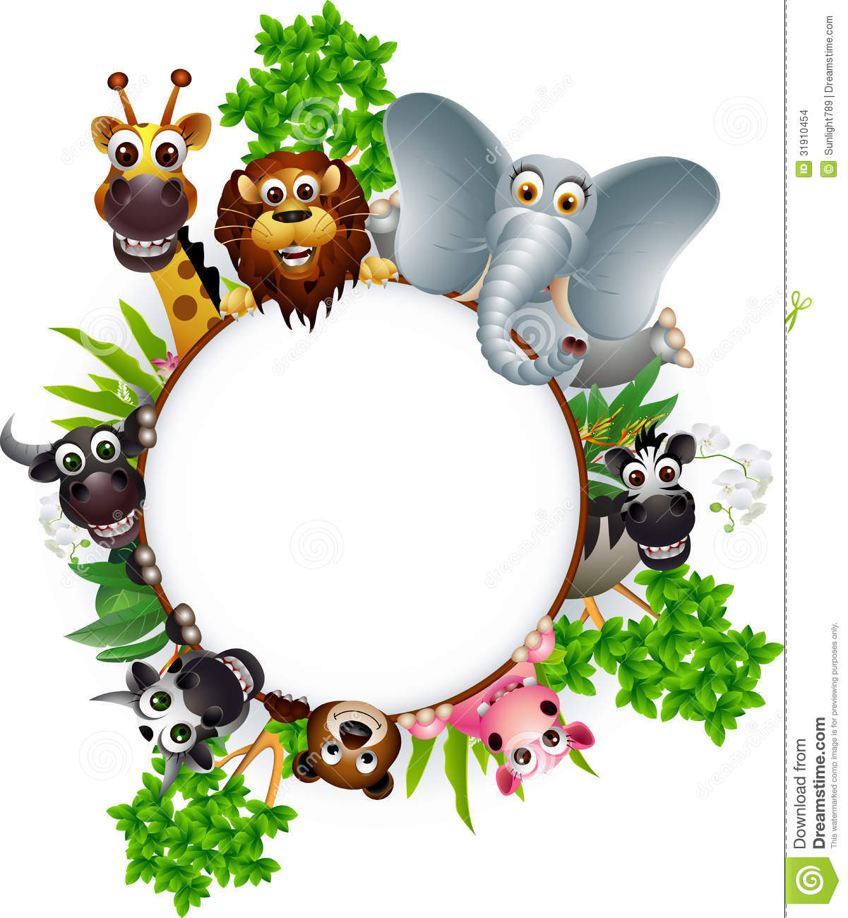 Animal Cartoon Collection With Blank Sign And Tropical Forest ...