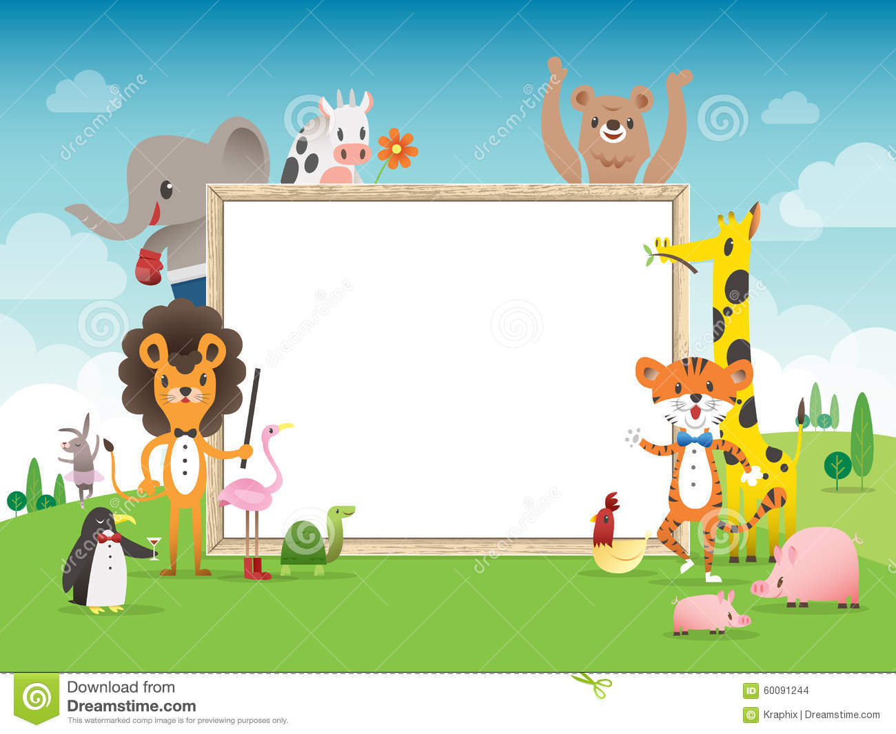 animal cartoon frame border template with whiteboard stock