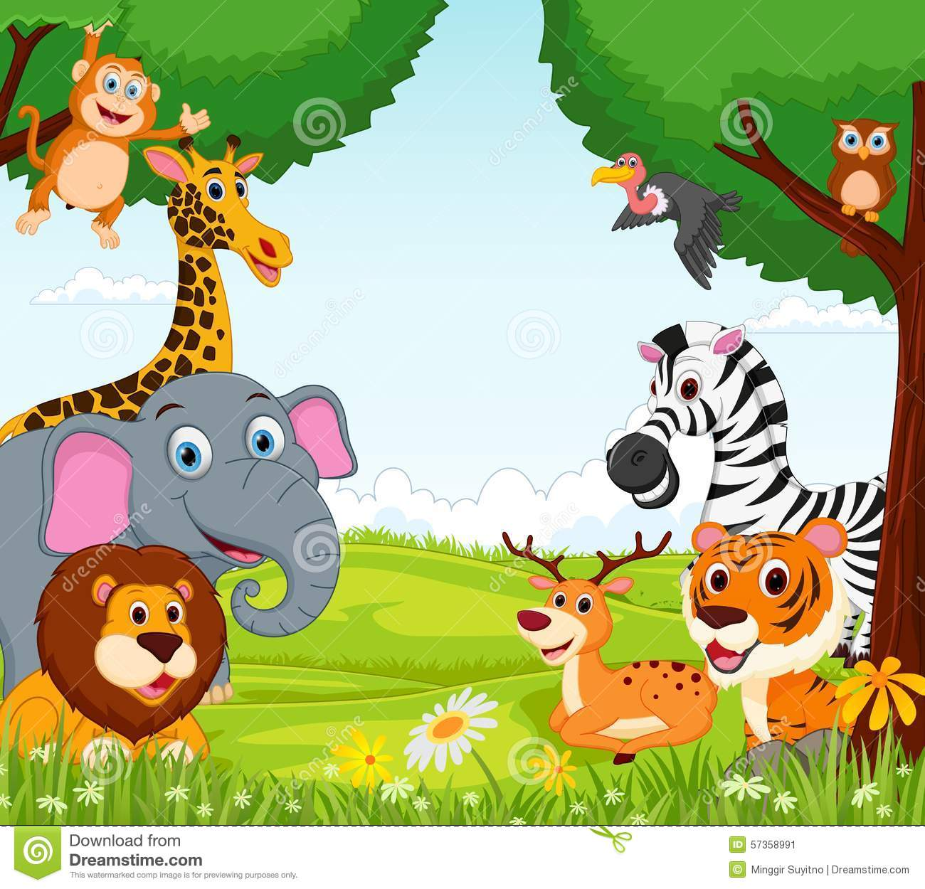 Animal Cartoon In The Jungle Stock Vector Image 57358991