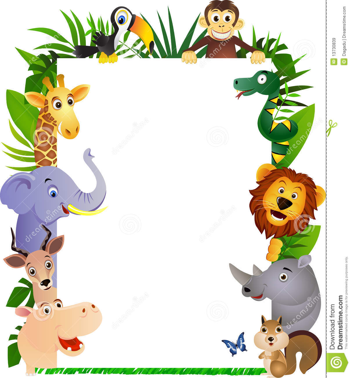 Royalty Free Stock Images: Animal cartoon and white blank. Image ...