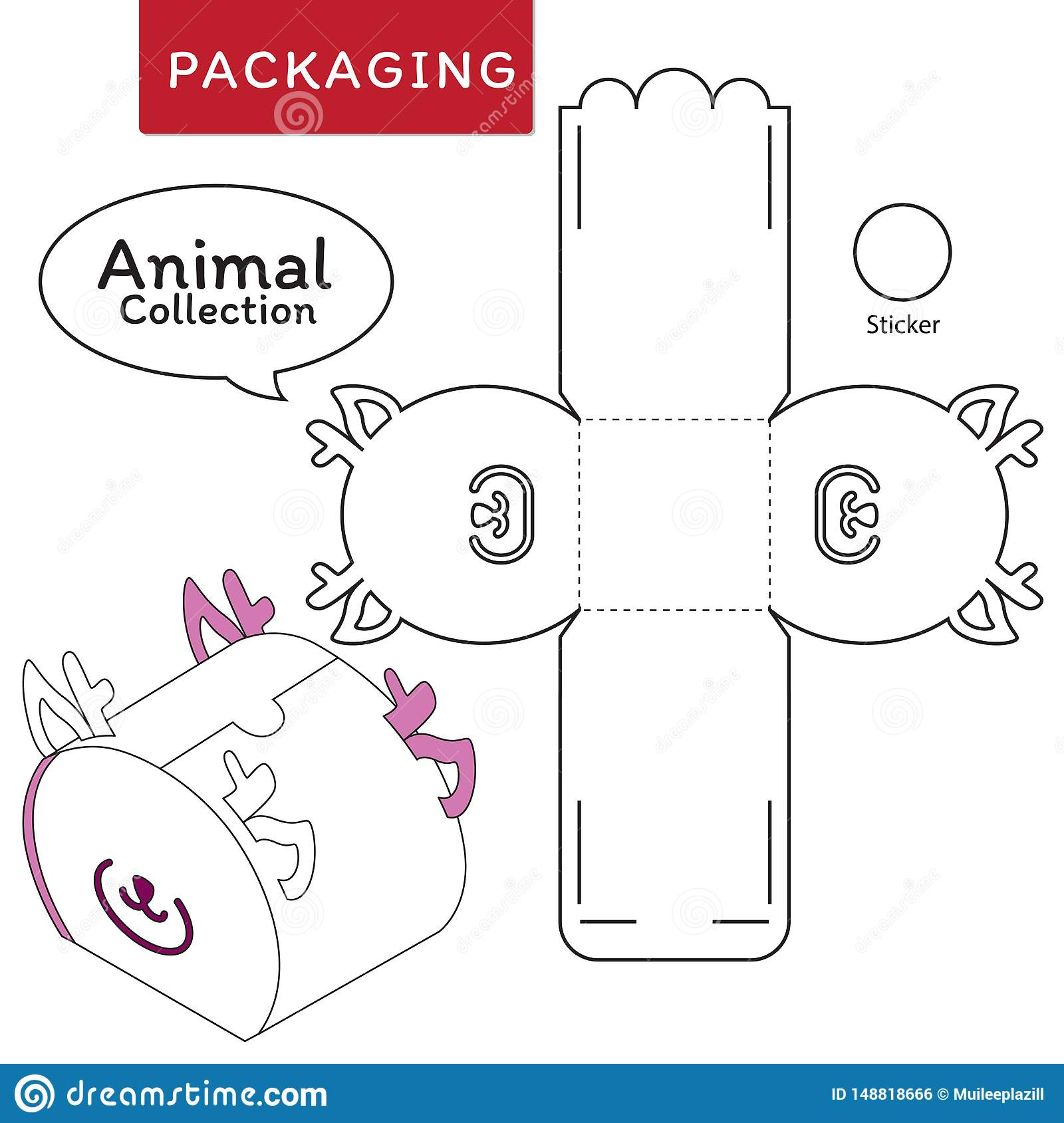 Animal collection vector Illustration of Box.