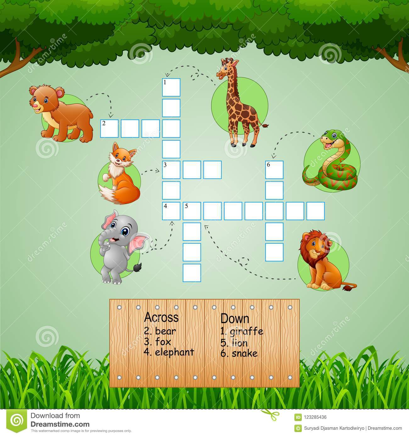 Download Animal Crossword Puzzles For Kids Games Stock Illustration