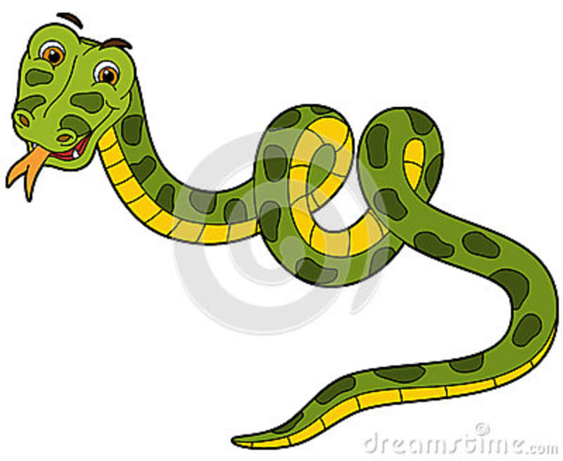 Animal De La Historieta - Serpiente - Estilo Plano Del Colorante ...