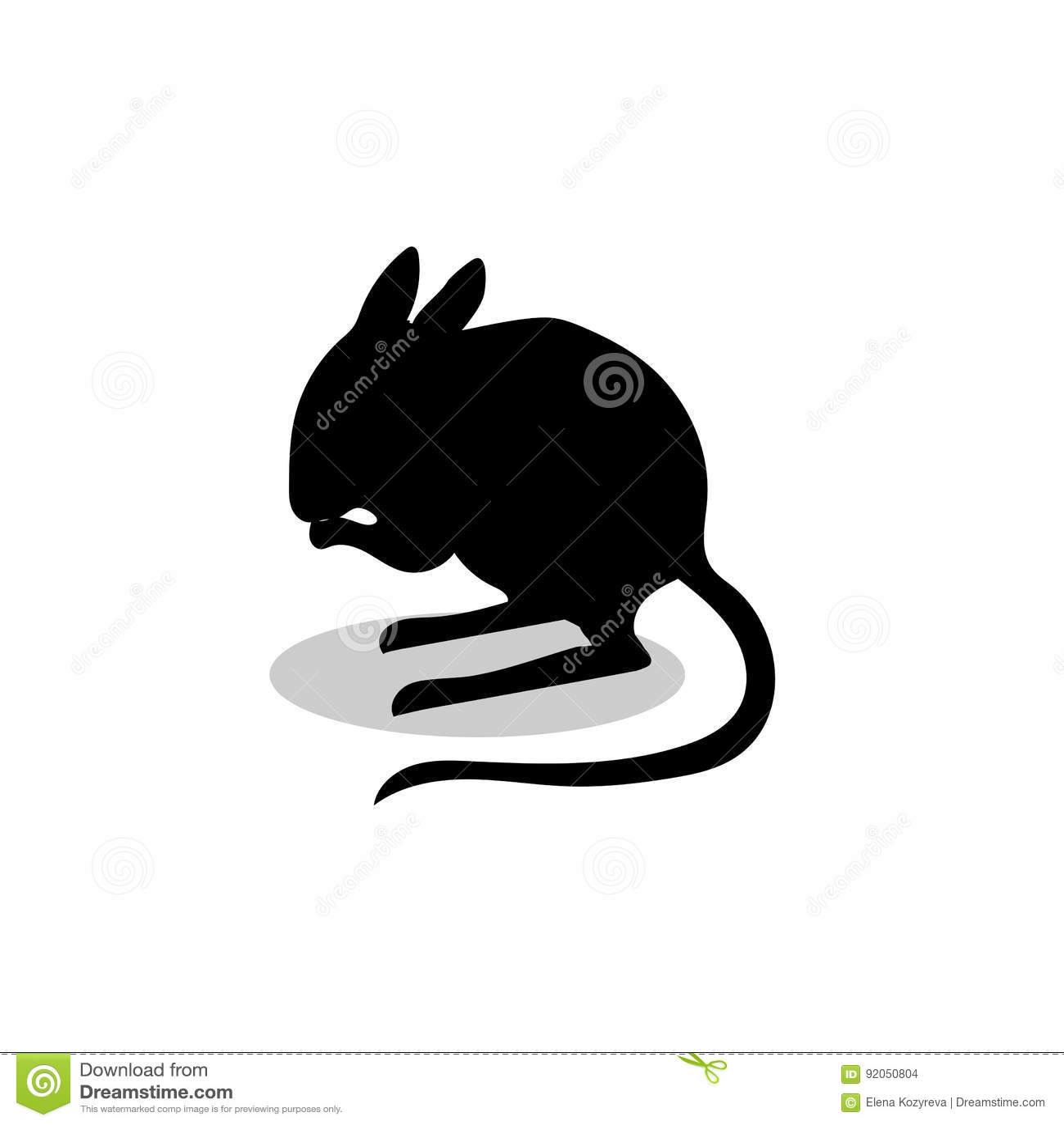 Animal De La Silueta Del Negro Del Mamífero Del Roedor Del Jerbo ...