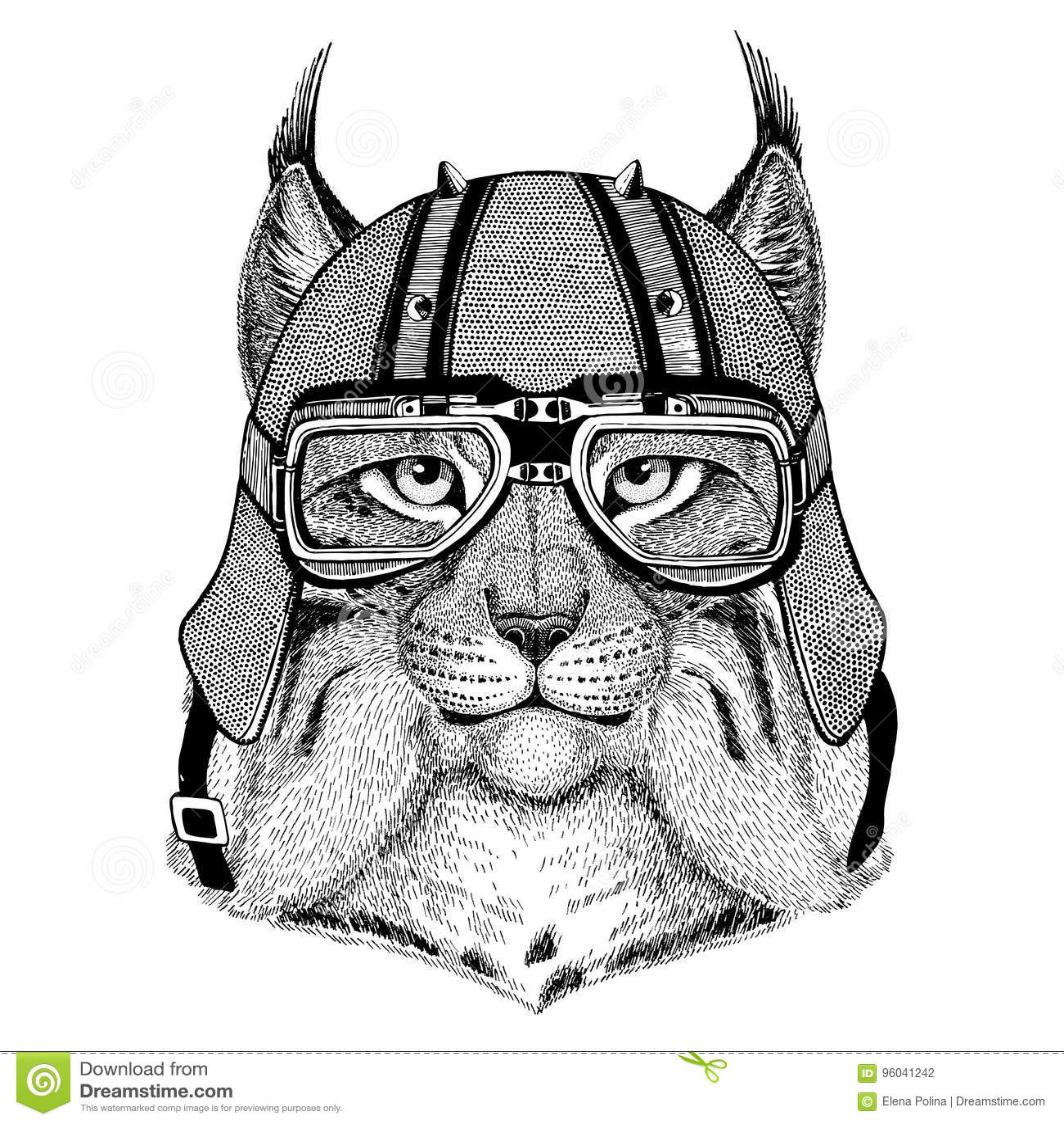 Animal De Port Sauvage De Casque De Motard De Lynx Bobcat Trot De