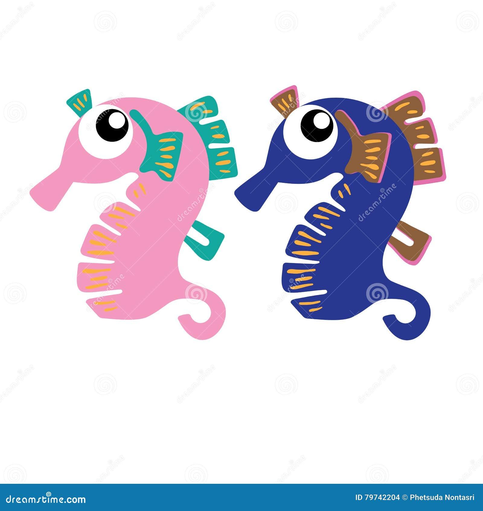 Animal del ejemplo del extracto del diseño de la historieta del icono del Seahorse