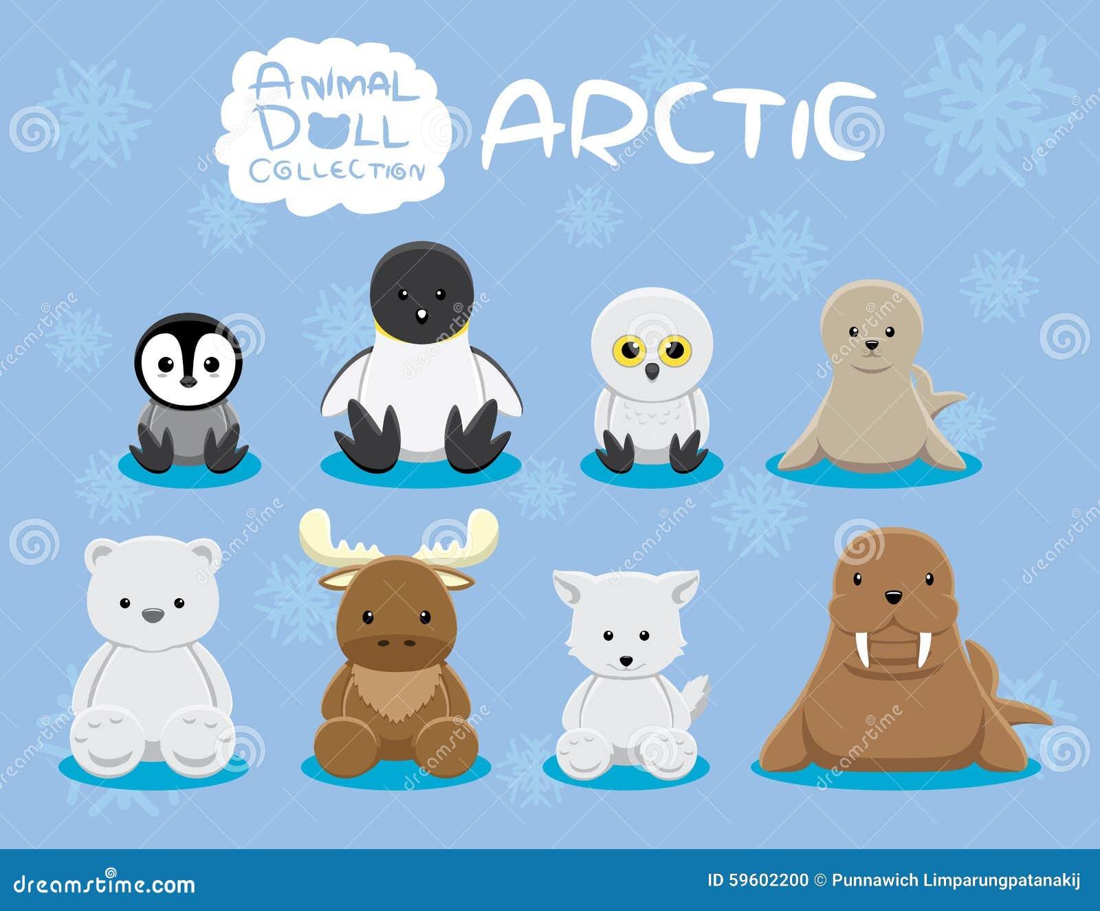 Animal Dolls Arctic Set Cartoon Vector Illustration Stock