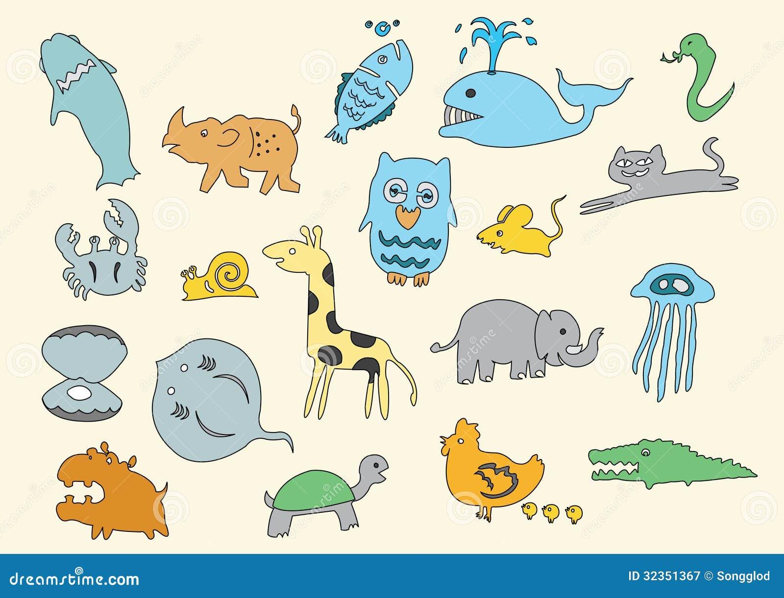 Animal Doodle Child Drawn Cartoon Art Royalty Free Stock Photography