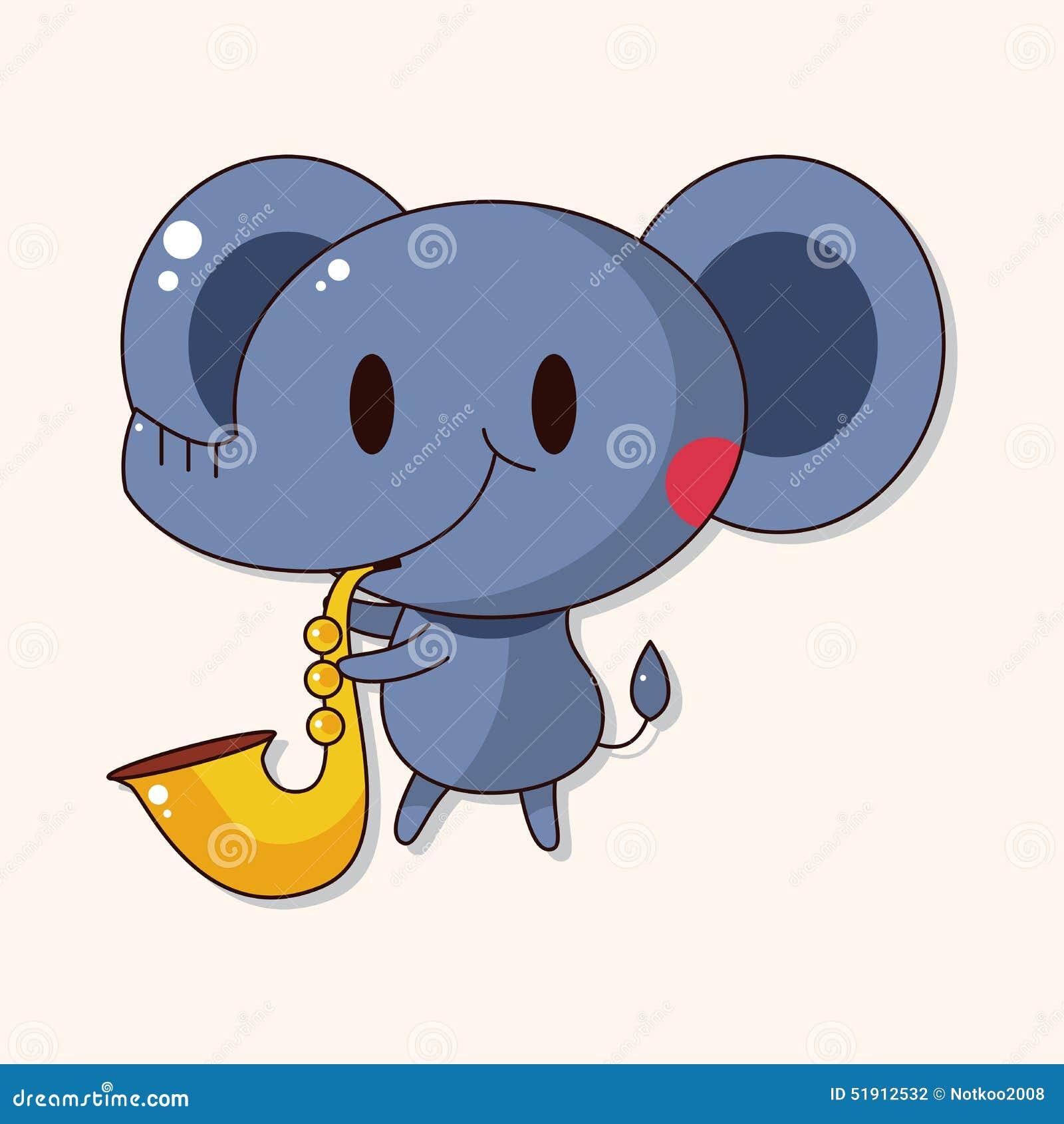 Animal Elephant Playing Instrument Cartoon Theme Elements
