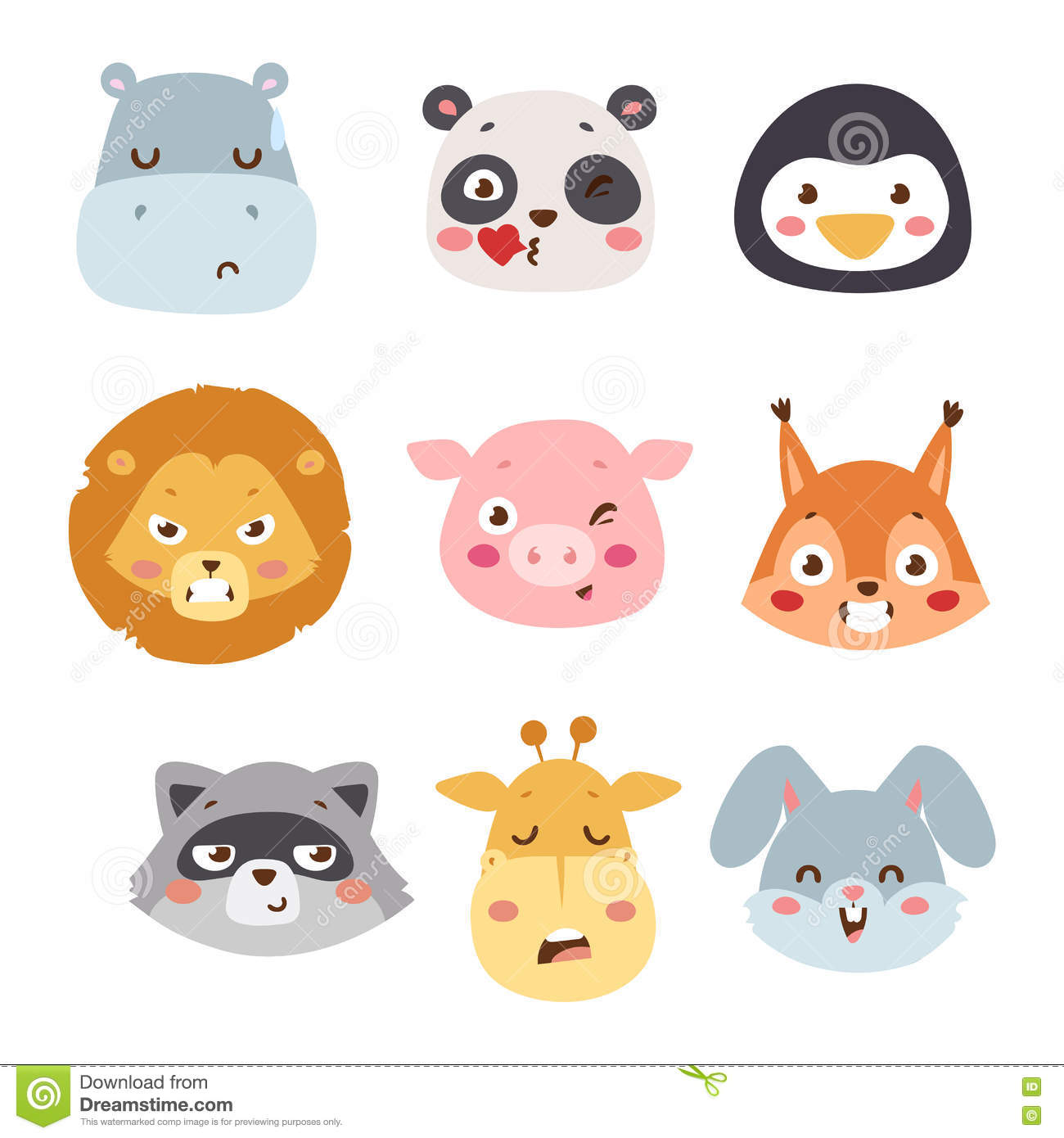 Avatar 2 Animals: Animal Emotion Avatar Vector Illustration Icon Stock