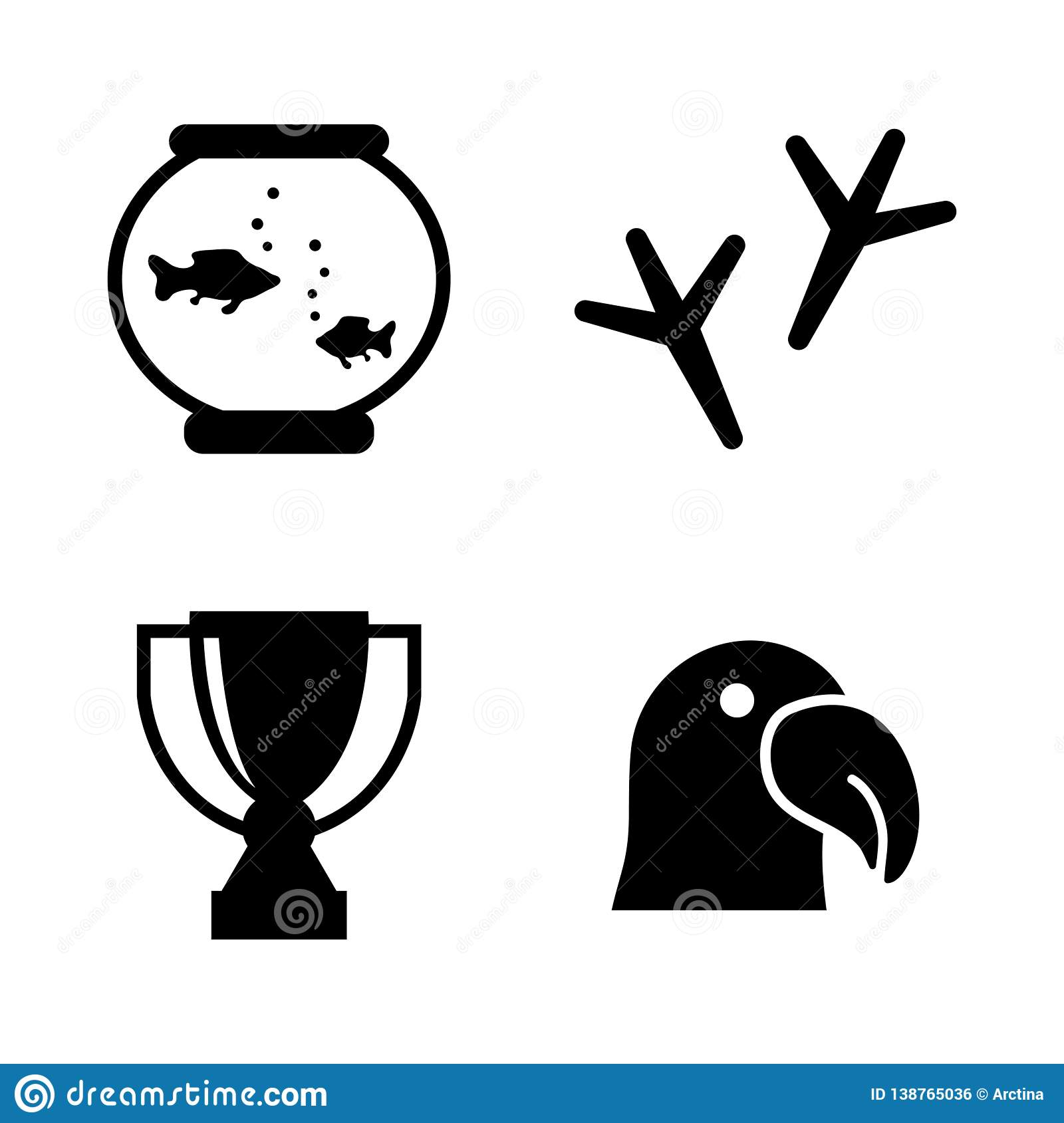 Animal Exhibition. Simple Related Vector Icons