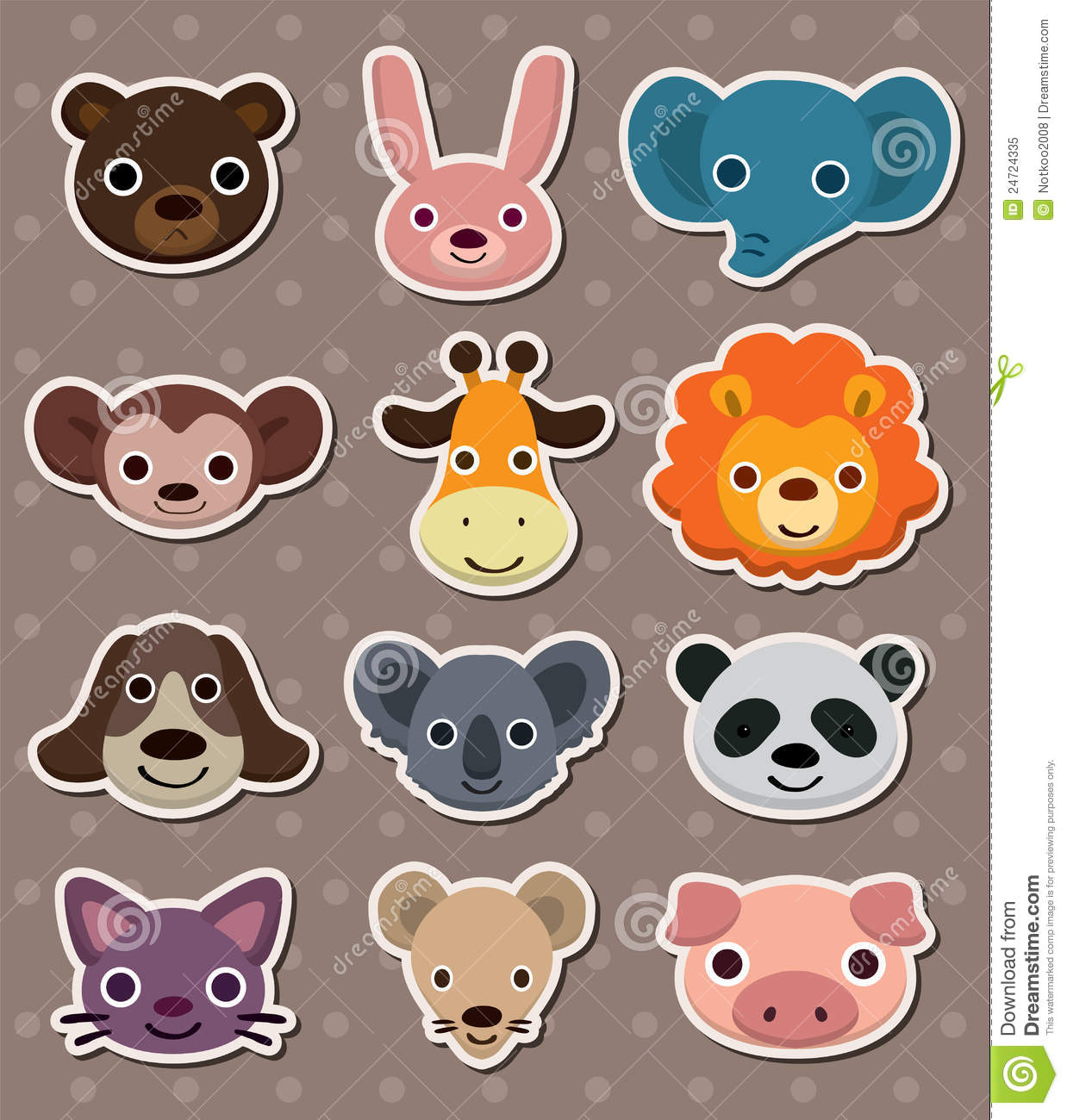Animal Face Stickers Royalty Free Stock Photo Image 24724335