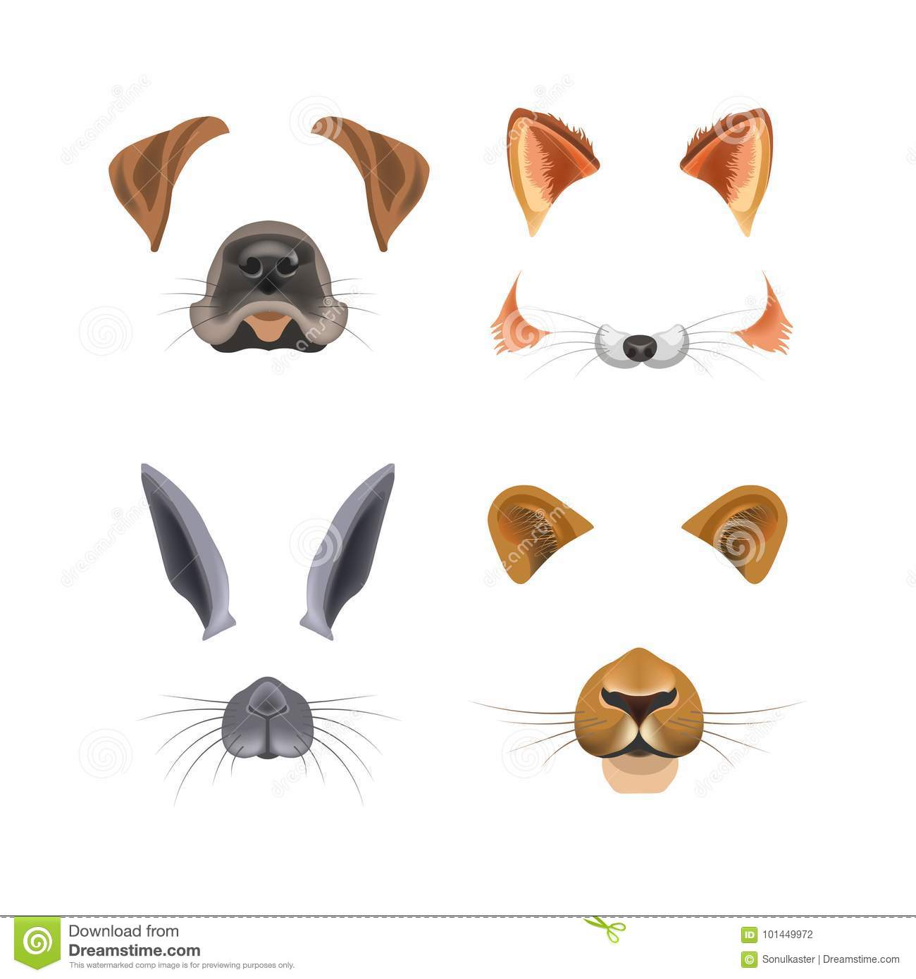 Animal Face Video Chat Or Selfie Photo Filter Template Vector Isolated Icons