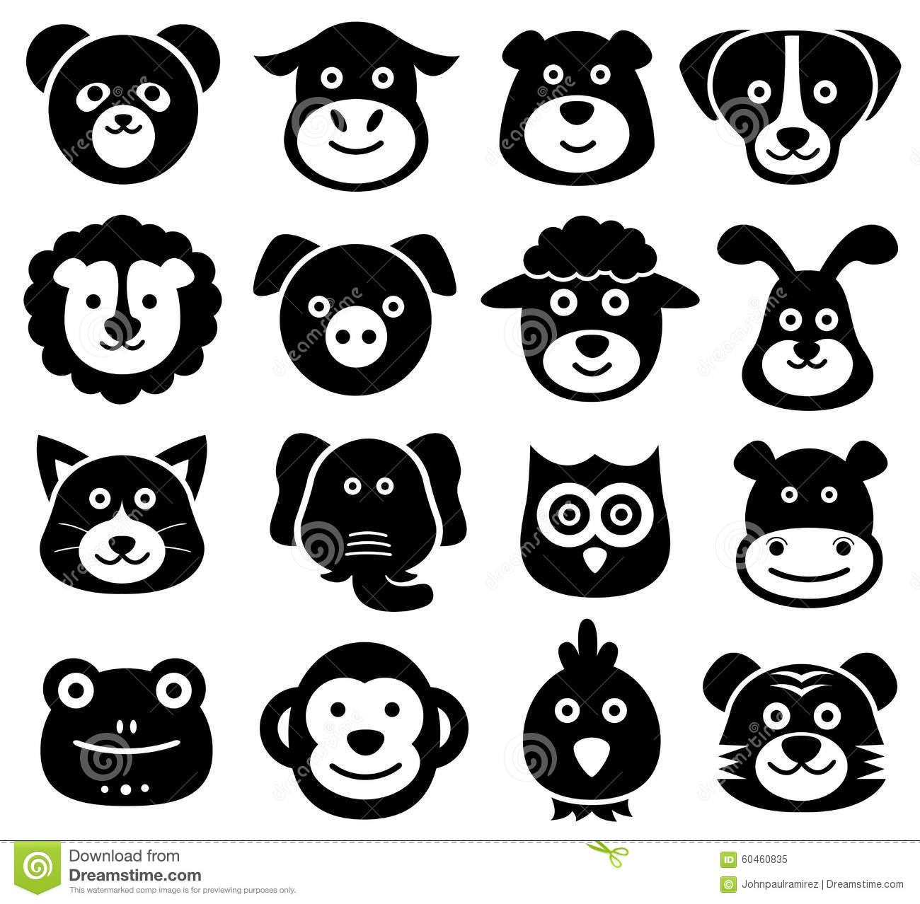 Animal Faces, Animal Icons, Silhouettes, Zoo, Nature Stock Vector ...