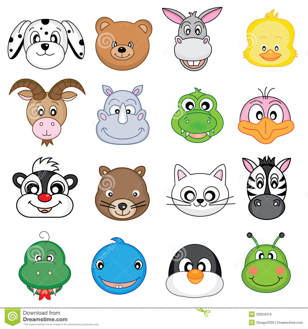 Animal faces icons stock vector. Illustration of squirrel ...