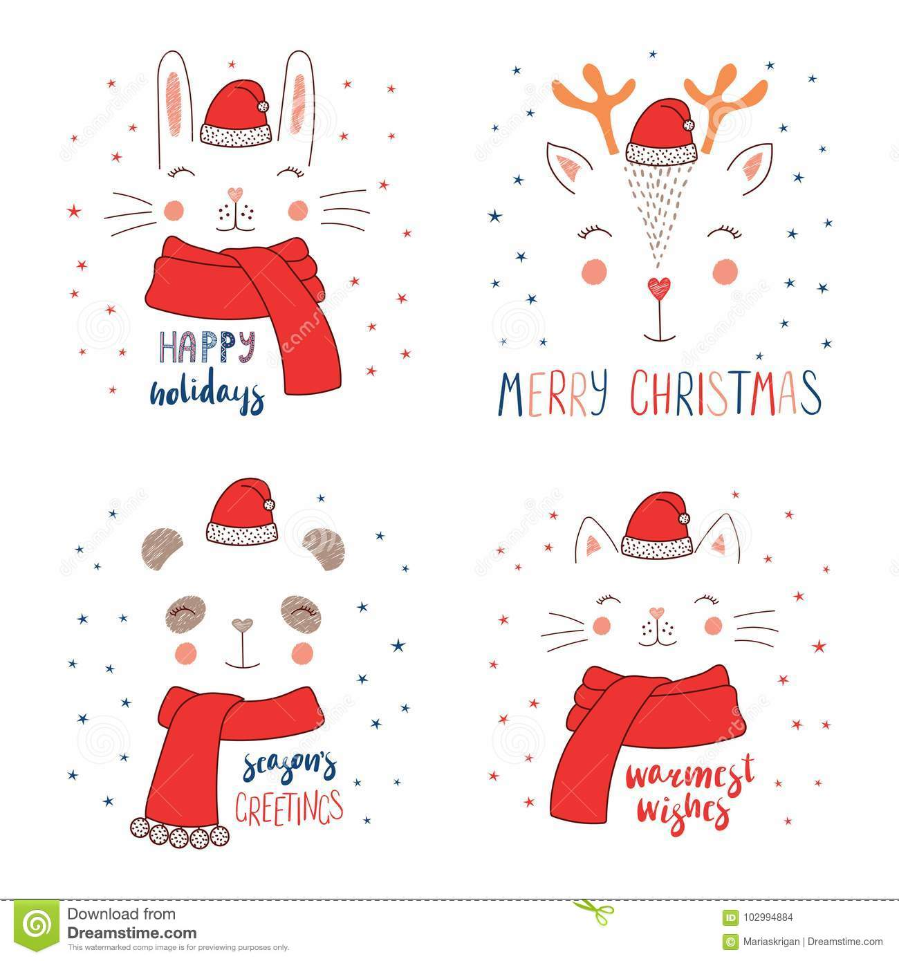 Animal Faces In Santa Claus Hat Stock Vector Illustration Of Claus