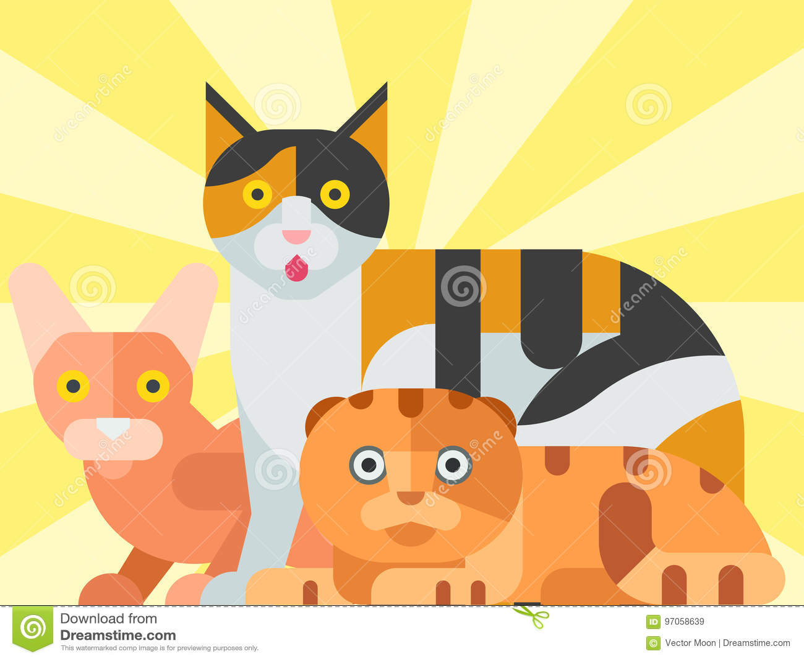 Animal familier à la mode de minou d illustration de vecteur de chats de chaton domestique félin décoratif drôle animal mignon de