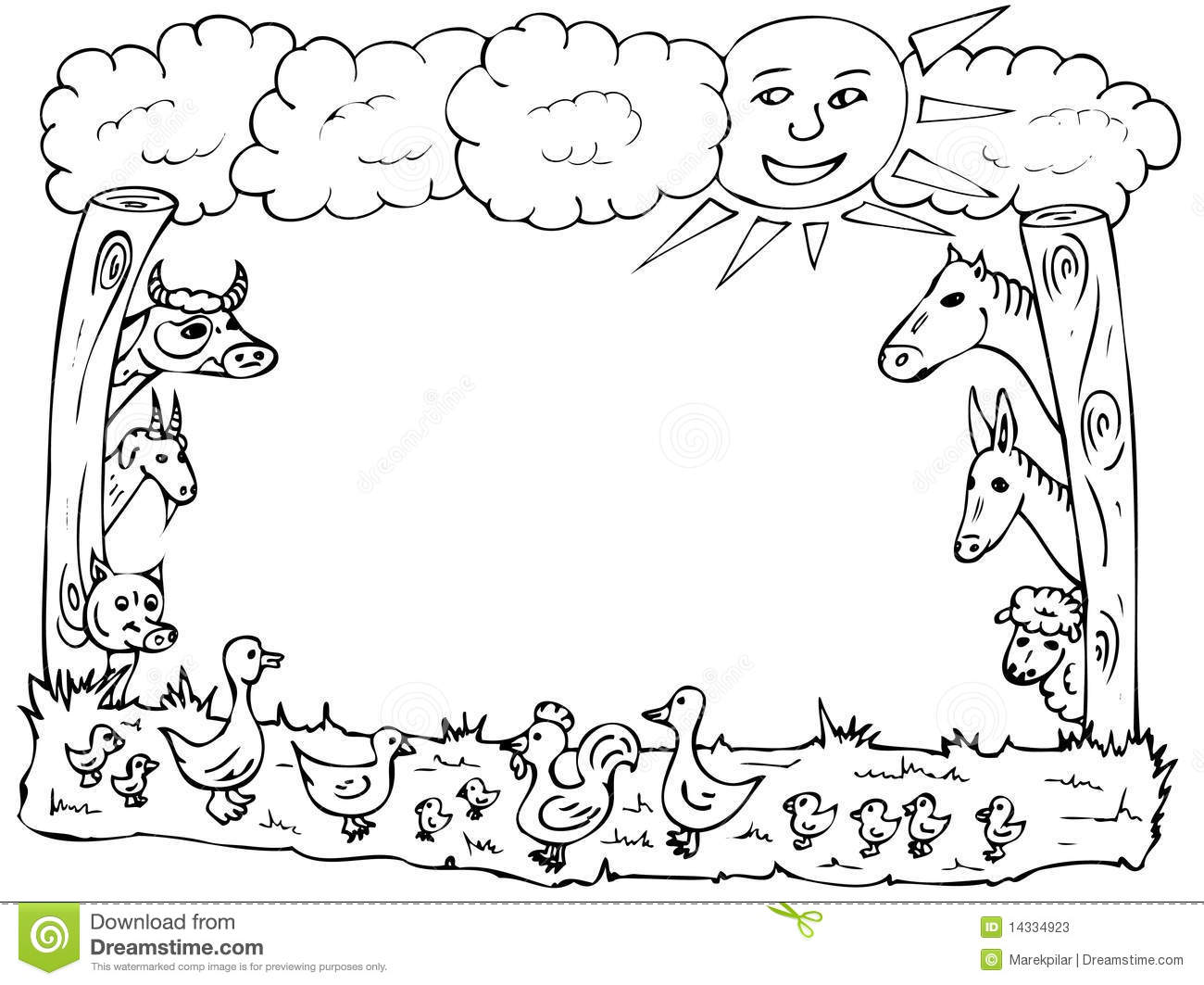 Illustration Of Various Farm Animals Made As A Frame