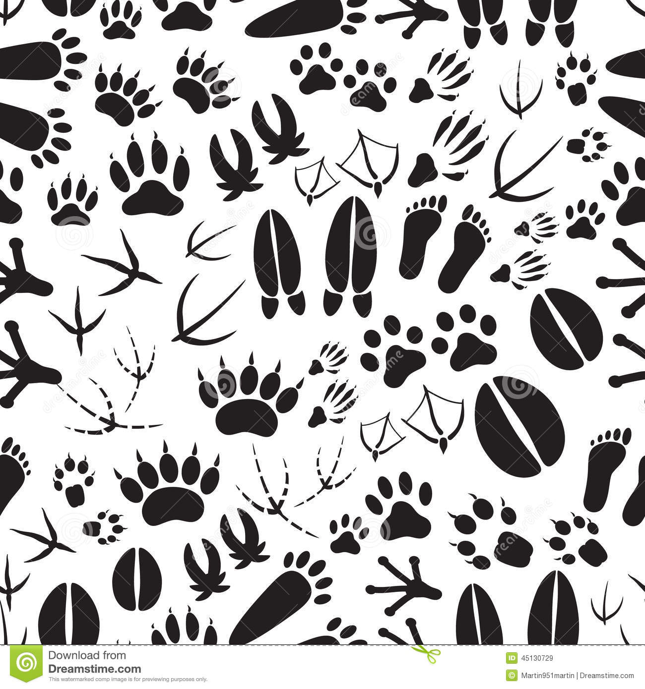 Animal Footprints Black And White Seamless Pattern Stock ...