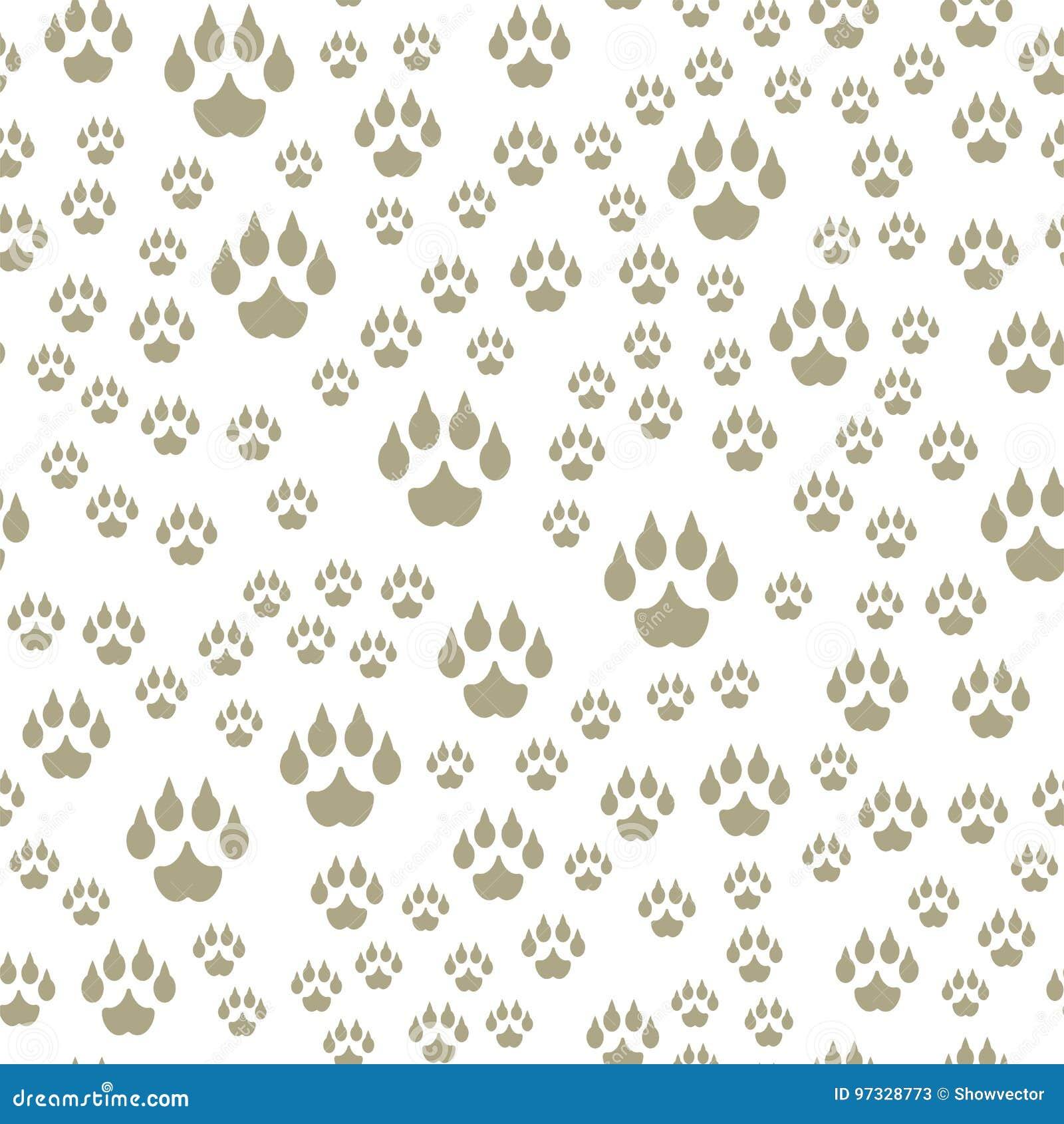 Animal Footprints Include Seamless Pattern Mammals Foot ...