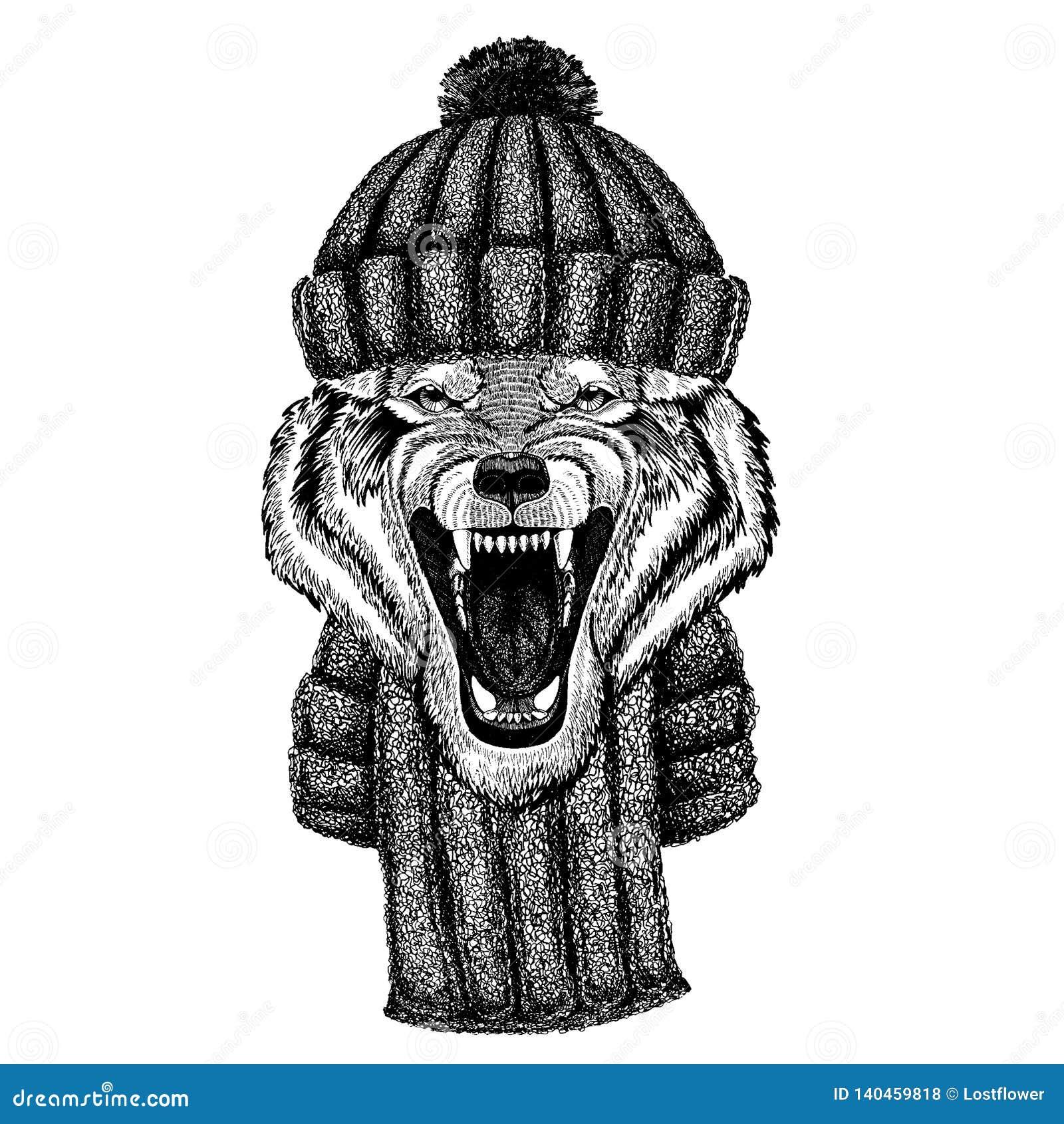Animal frais animal de Wolf Dog Wild utilisant le chapeau tricoté d hiver Chapeau chaud de Noël de calotte de coiffe pour le tato